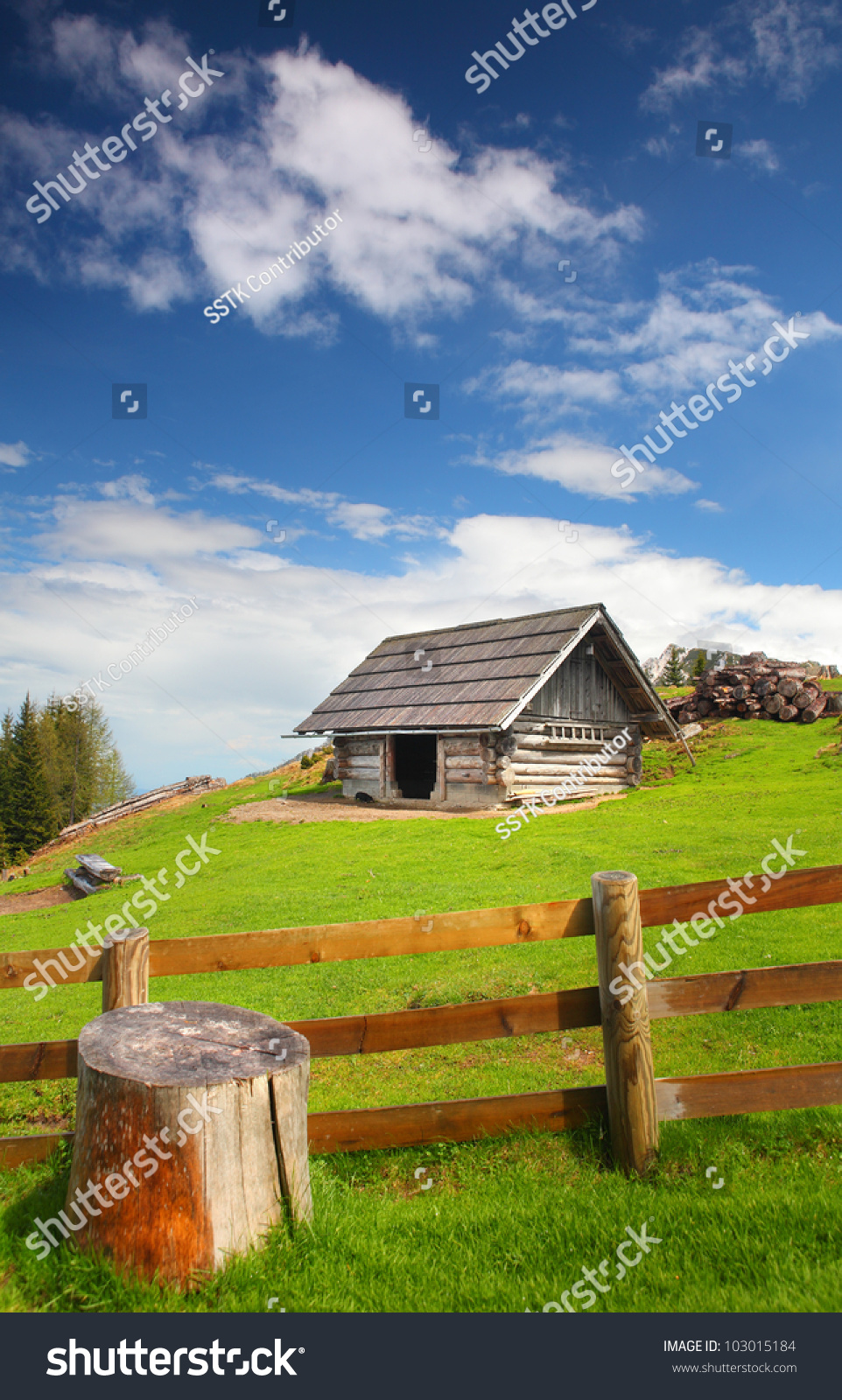 Cottage on meadow mountains stock photo 103015184 for Cottage in the mountains