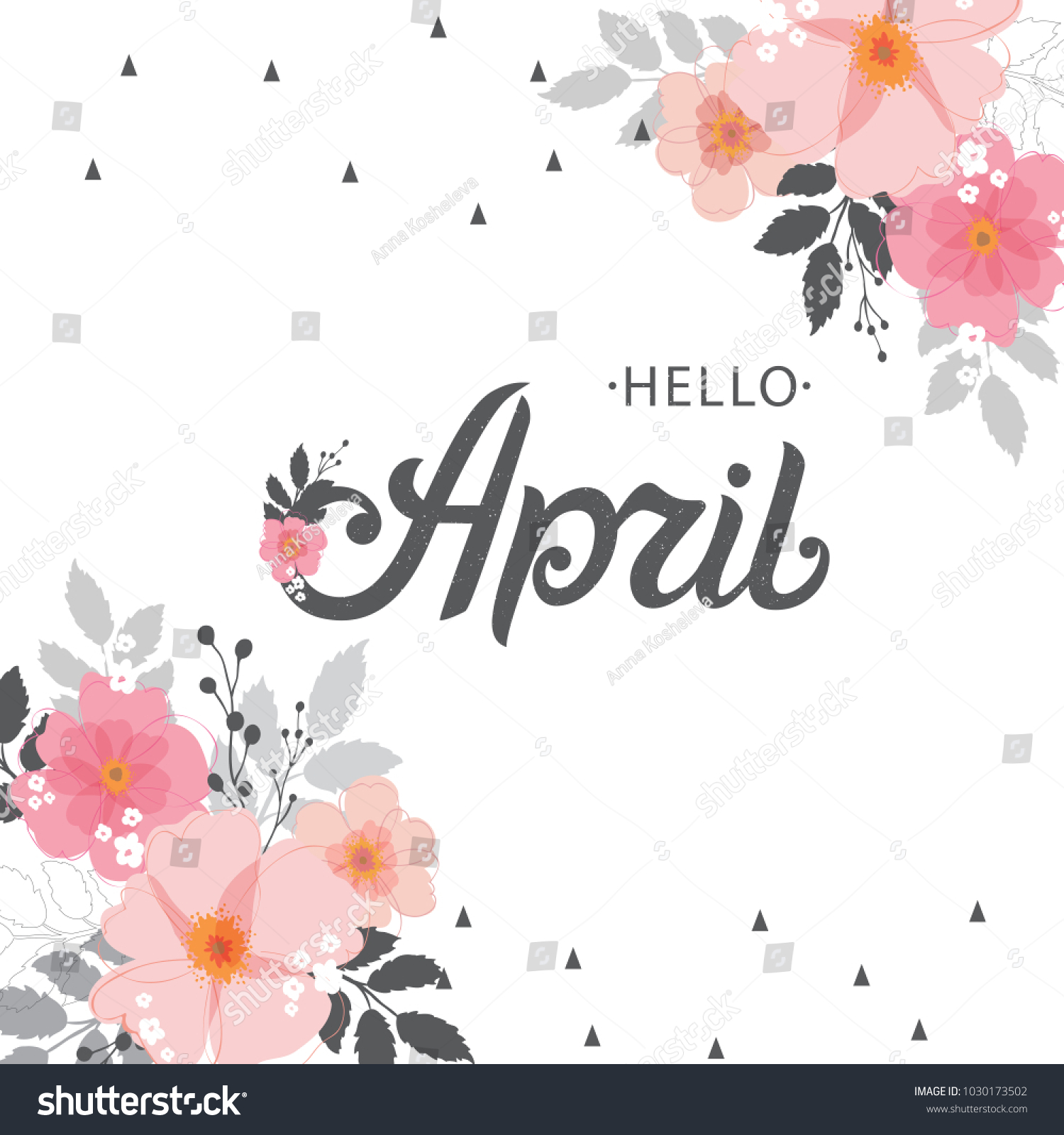 Hello april typography vector design greeting stock vector hello april typography vector design for greeting cards and poster hand lettering text isolated on kristyandbryce Choice Image