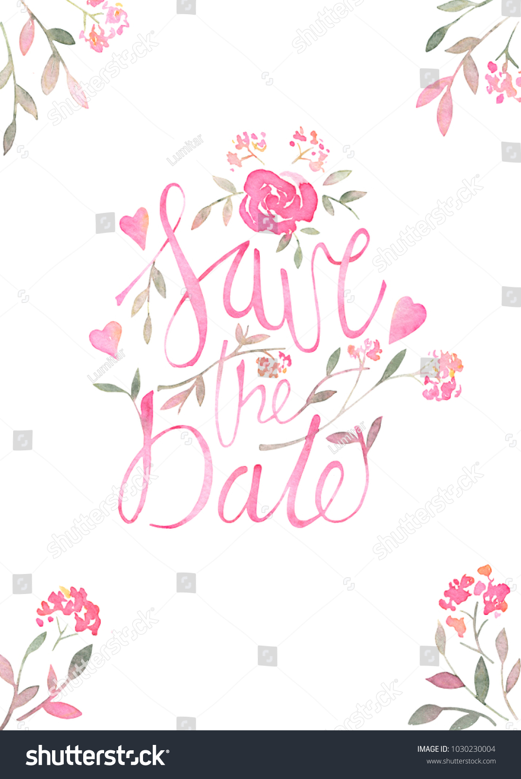save the date romantic invitation card layout with watercolor