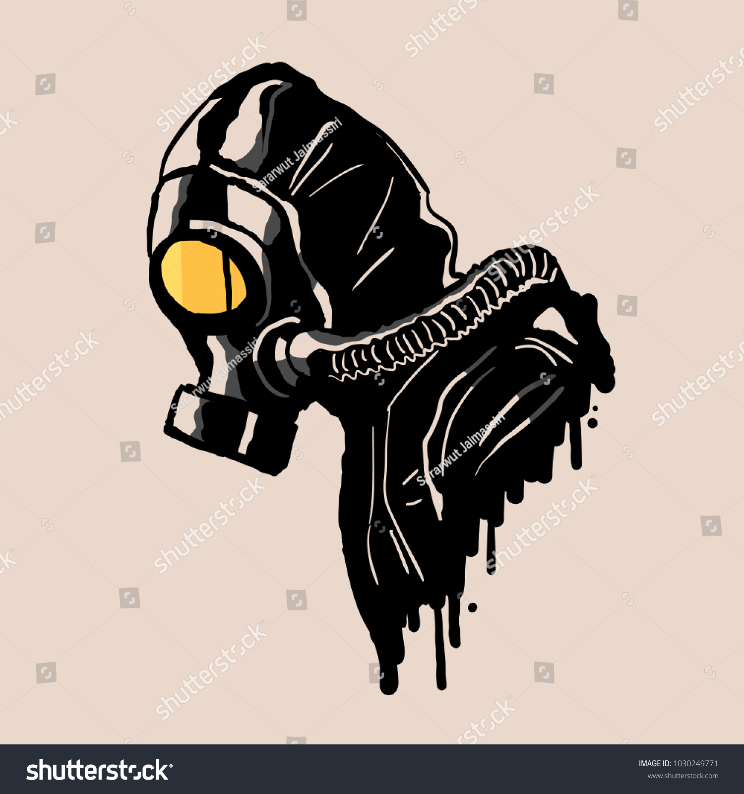 Gas mask in graffiti style vector illustration