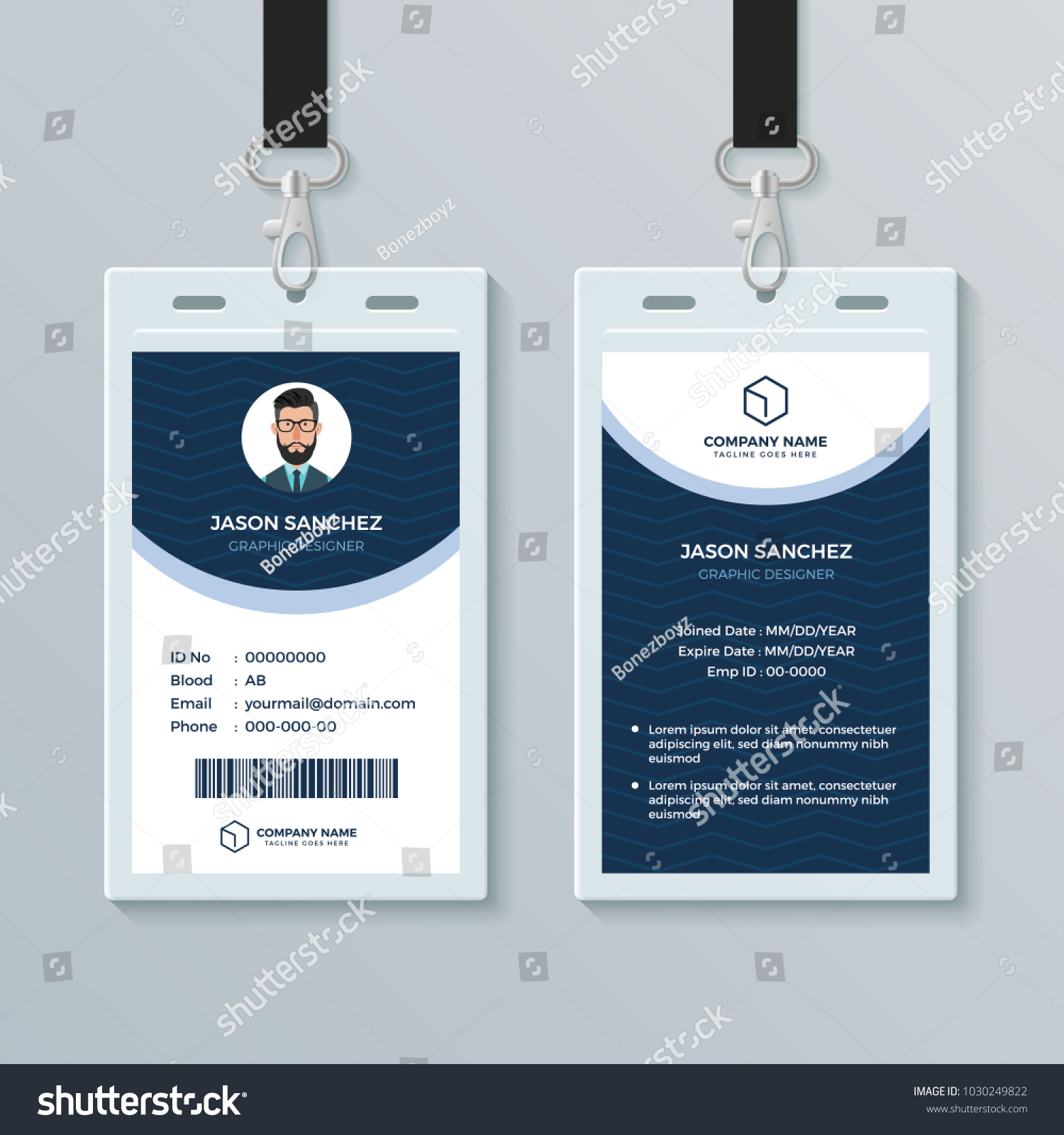 Clean Modern Employee ID Card Design Stock Vector 1030249822 ...