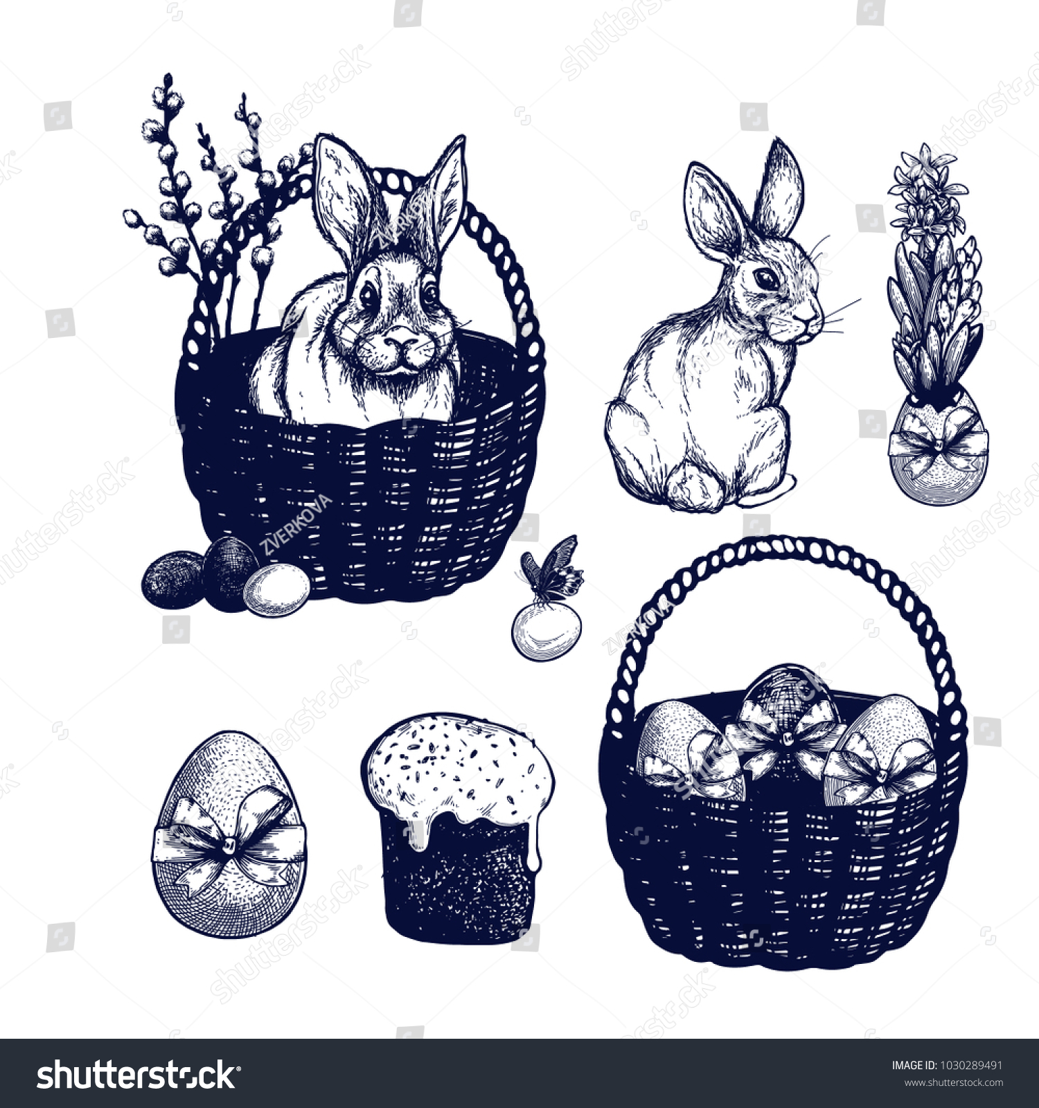 Easter Symbols Set Hand Drawn Isolated Stock Vector Royalty Free