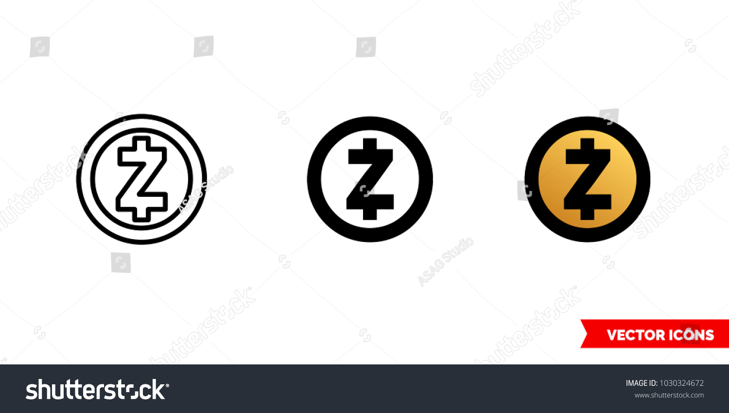 Zcash Icon Of 3 Types Color Black And White Outline Isolated Vector