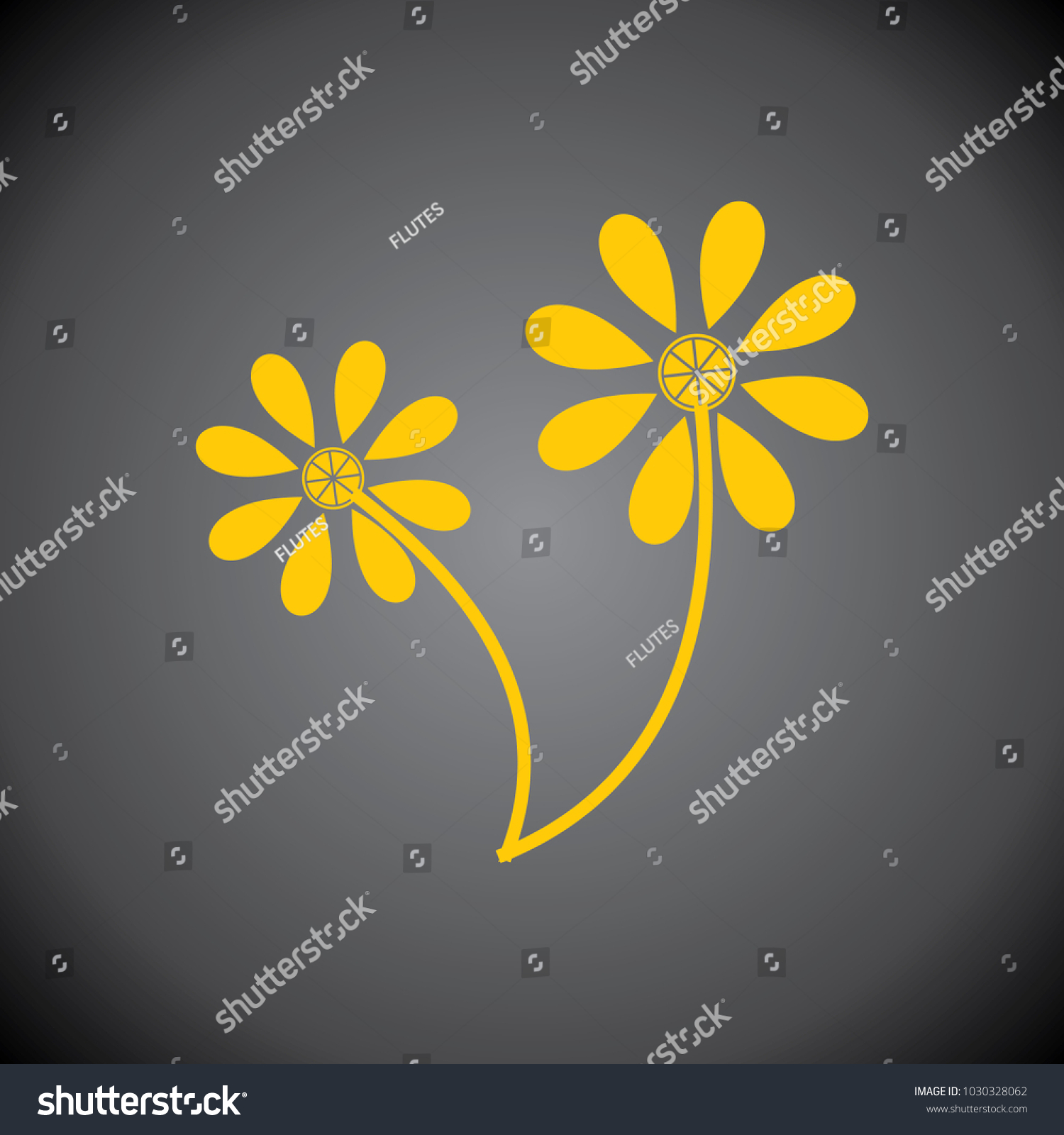 Yellow Flower Icon On Black Background Stock Vector Royalty Free