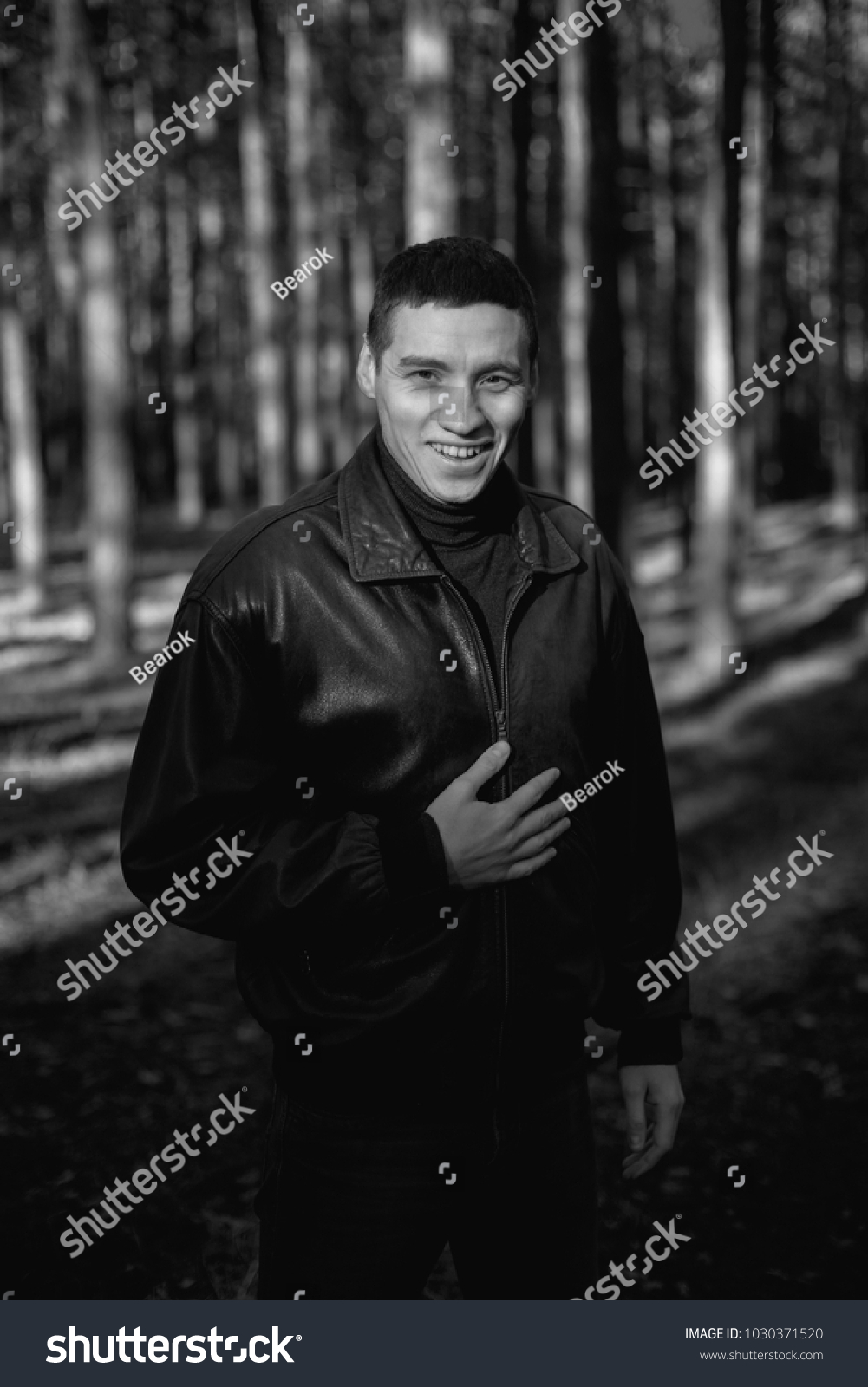 Young Man Criminal Appearance Black Leather Stock Photo Edit Now