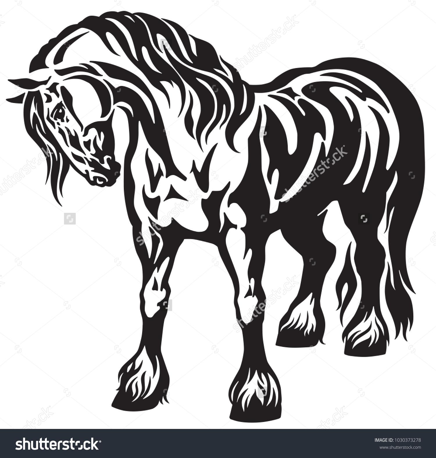Vector De Stock Libre De Regalias Sobre Heavy Draft Horse Black White Tribal1030373278