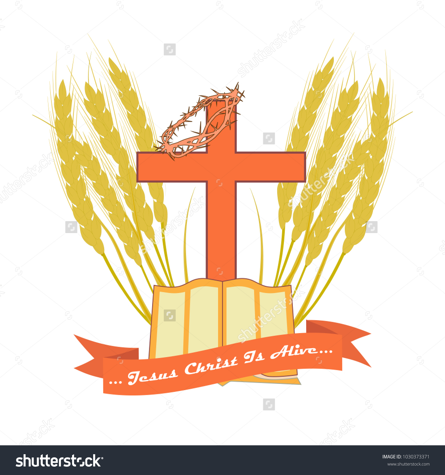 Bible christian cross edging made wheat stock vector 1030373371 the bible and the christian cross in edging made from wheat ears vector logo for buycottarizona Choice Image