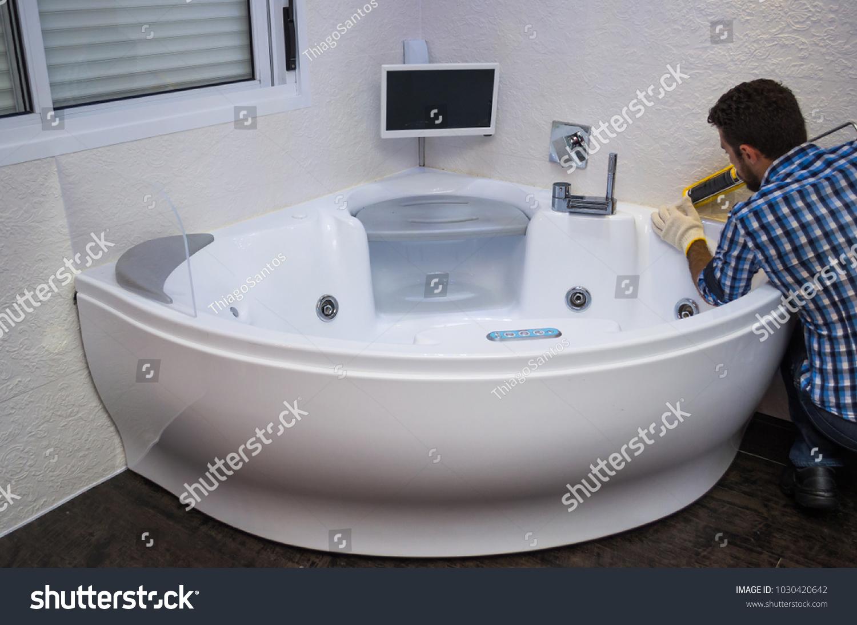 Installation Modern Bath Hot Tub Applying Stock Photo (Edit Now ...