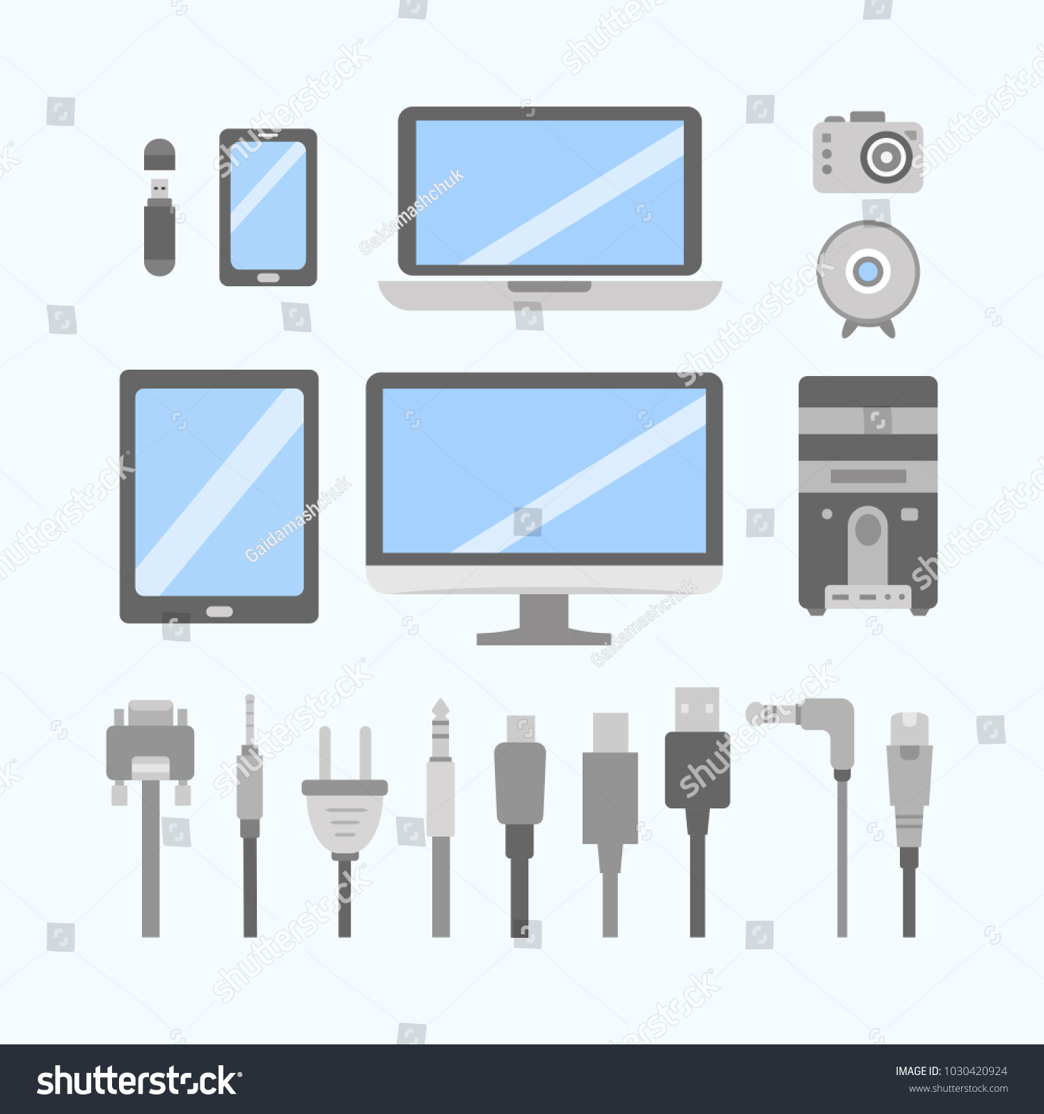 vector set pc flat icons cable stock vector 1030420924 shutterstock rh shutterstock com wiring diagram pioneer deh_p6900ub wiring diagram pioneer 8200nex