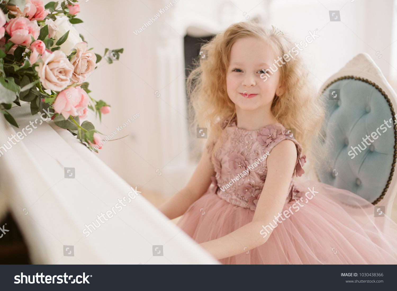 Beautiful Little Girl Pink Wedding Dress Stock Photo 1030438366 ...