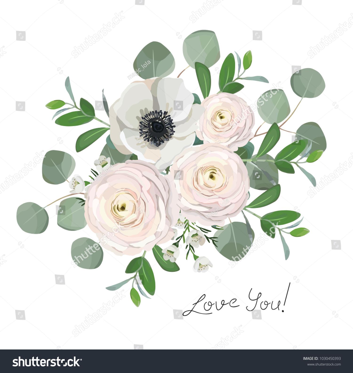 Ranunculus Anemone Eucalyptus Flowers Bouquet Illustration Stock Vector Royalty Free 1030450393