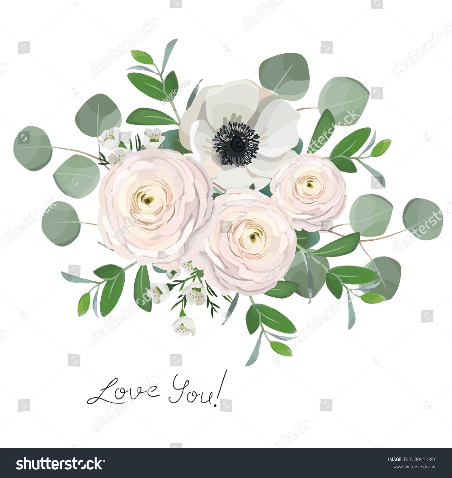 Ranunculus anemone eucalyptus flowers bouquet illustration stock ranunculus anemone eucalyptus flowers bouquet illustration izmirmasajfo