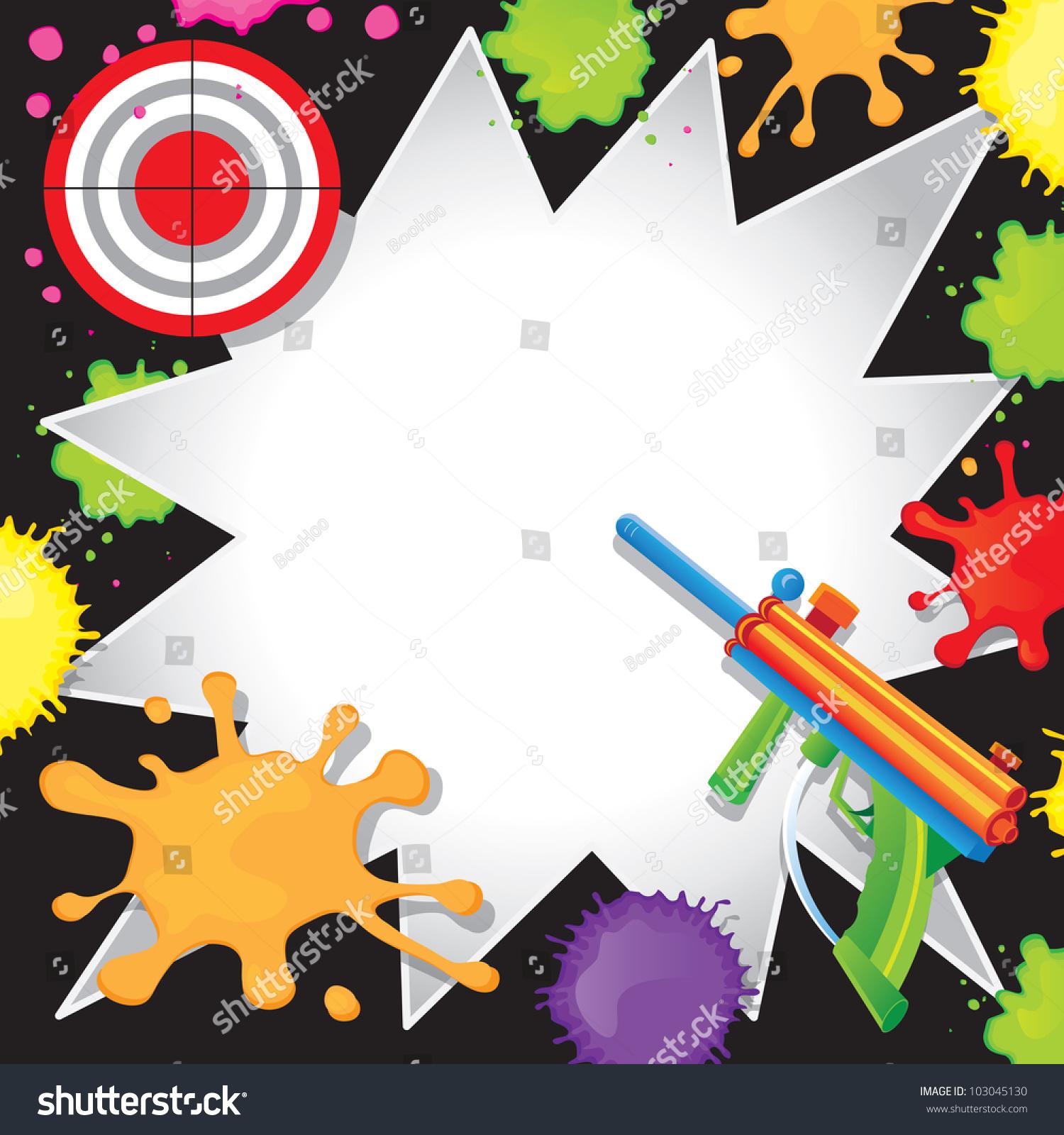 Super Fun Paintball Birthday Invitation Colorful Stock