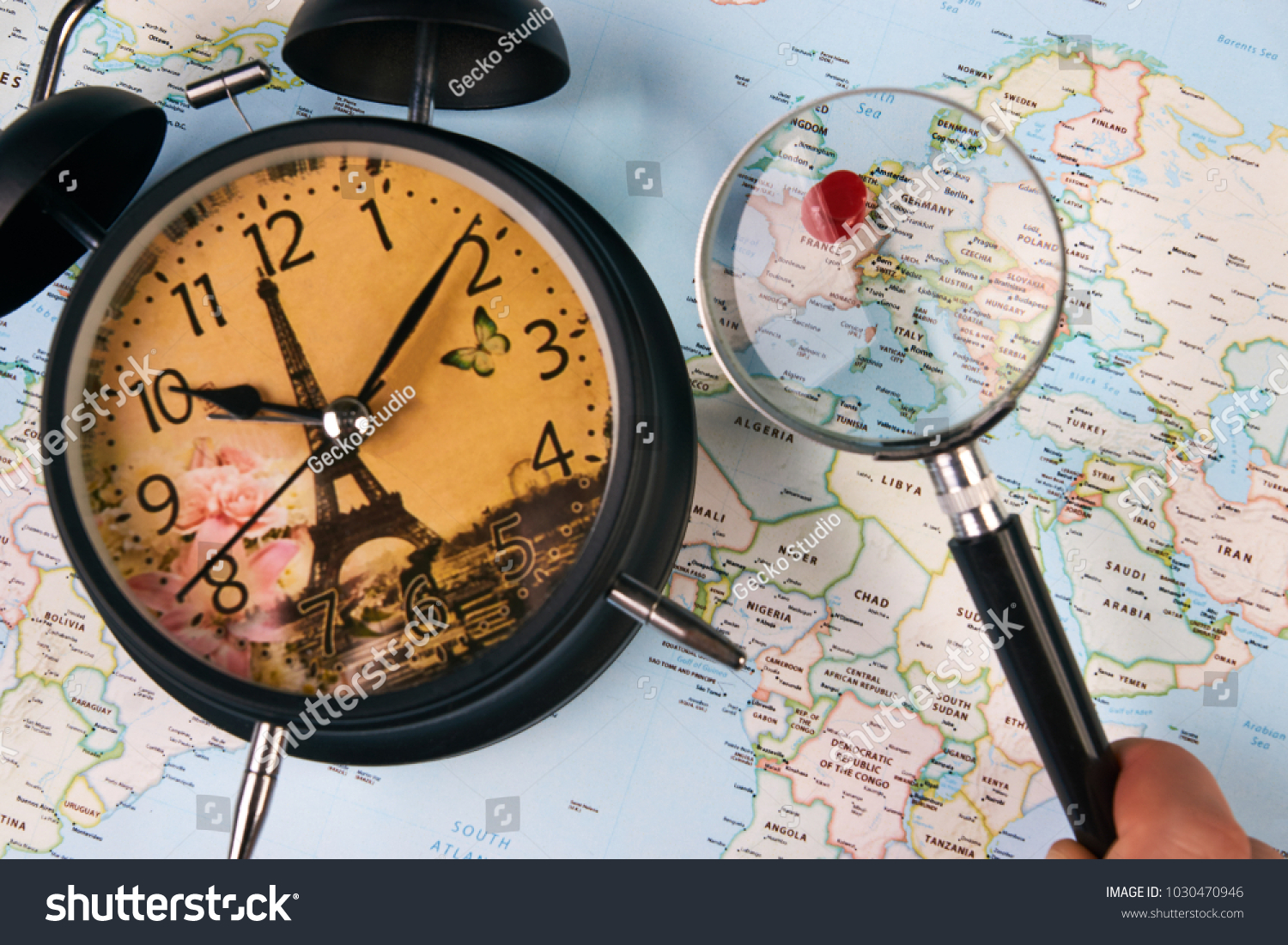Planing travel france paris worldmap globe stock photo image planing for travel to france paris with worldmap globe magnifying glass and alarm clock travel gumiabroncs Image collections