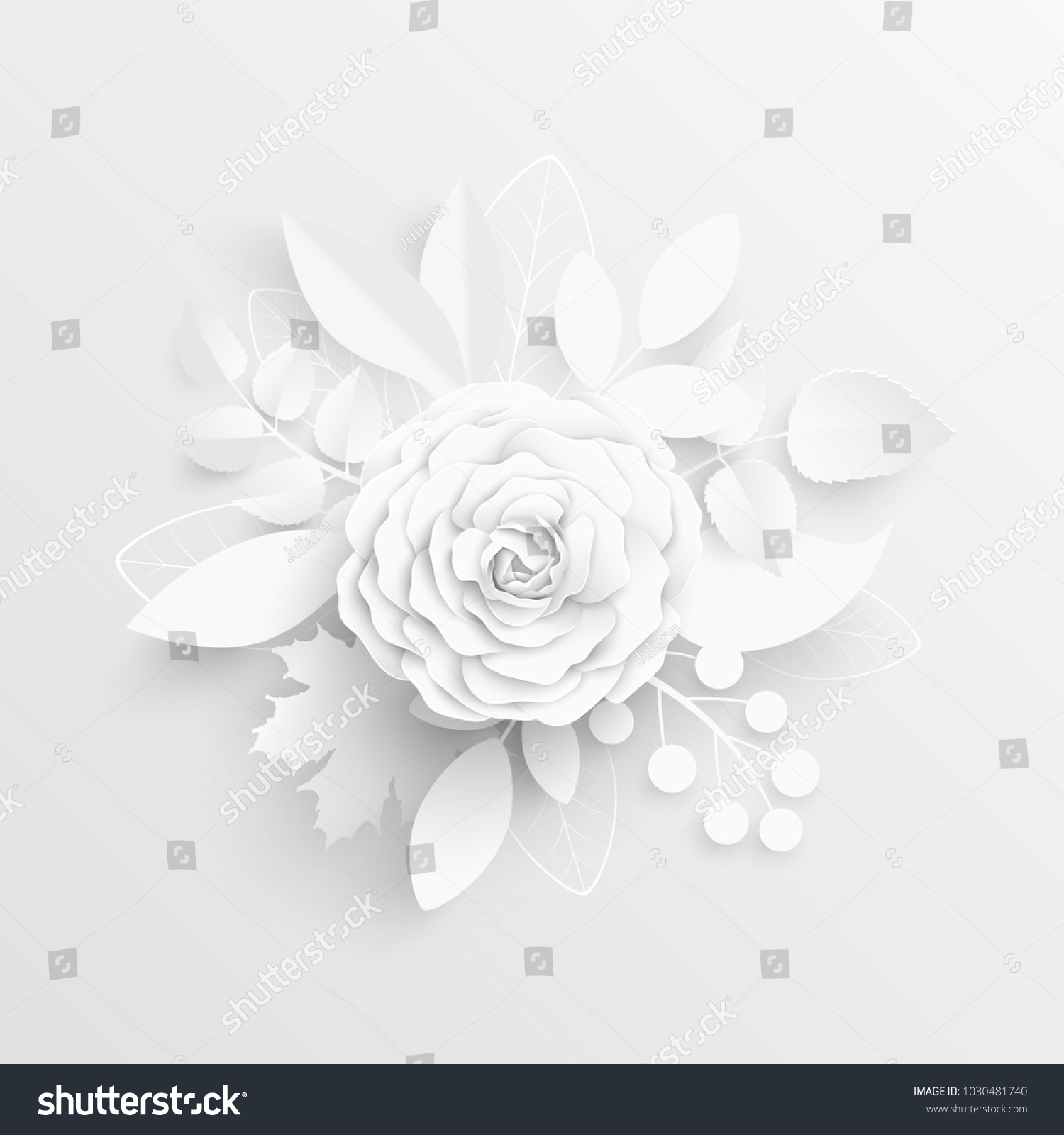 Paper Flower White Roses Cut From Paper Wedding Decorations