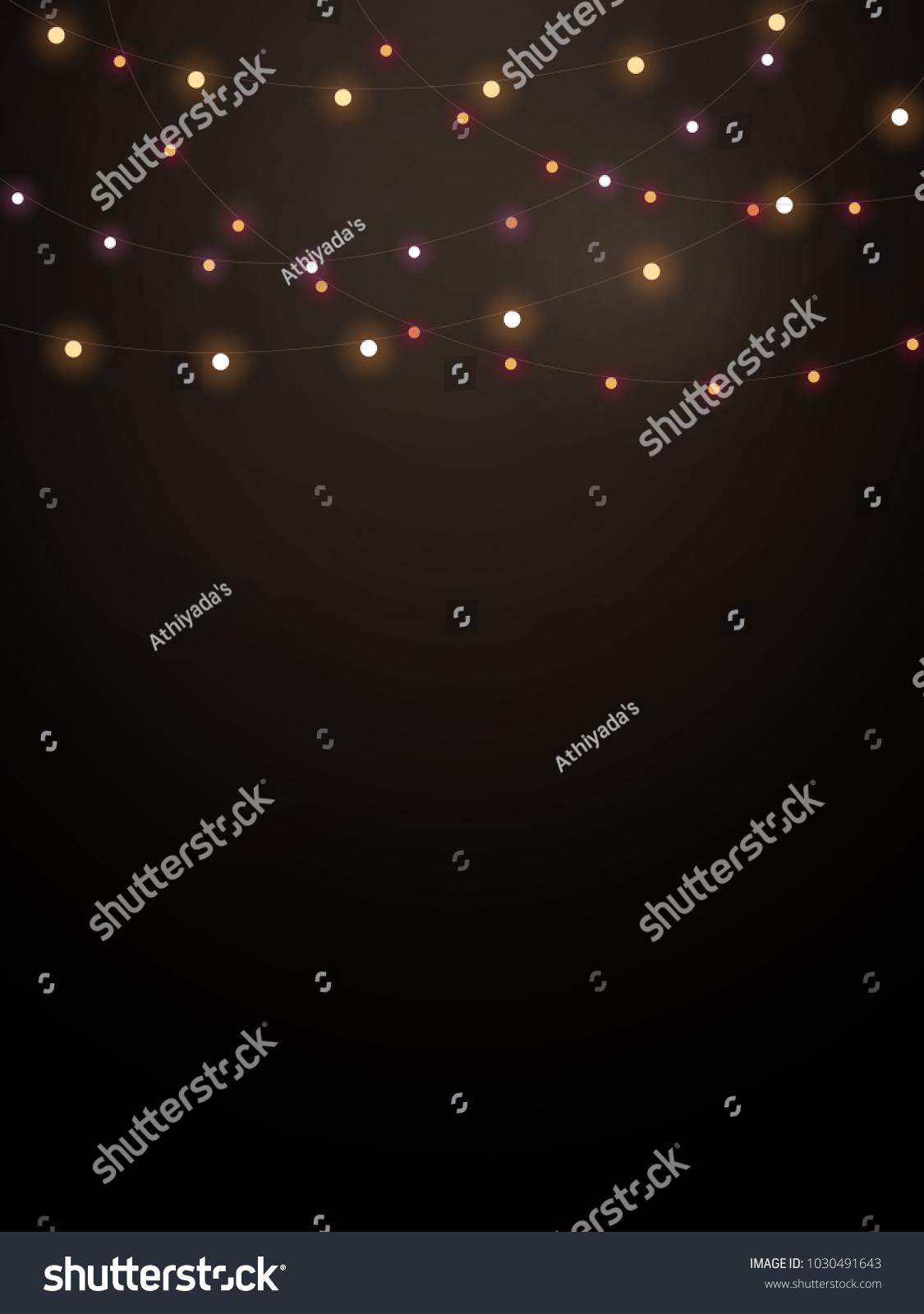 String Lights On Black Background