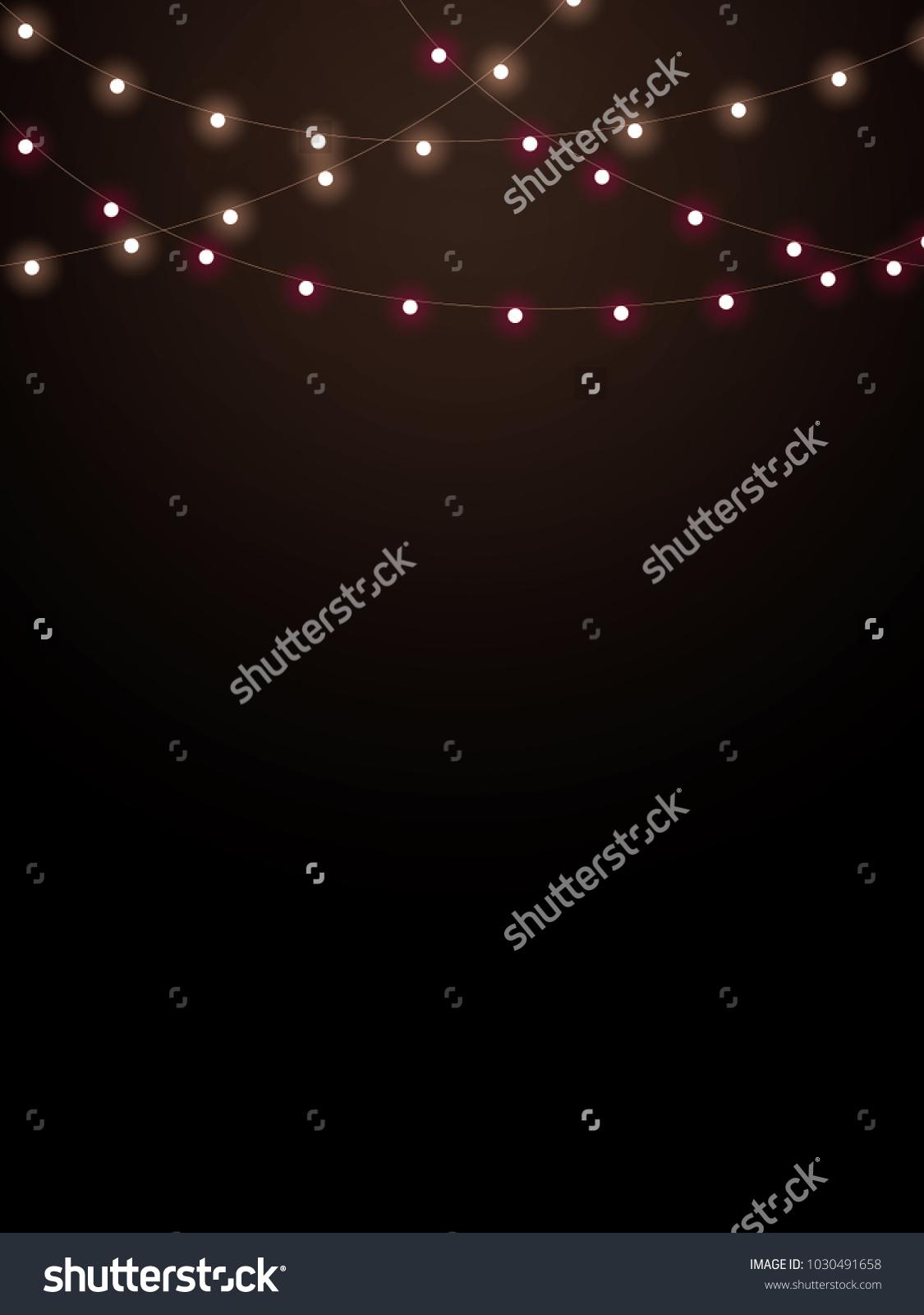 String Lights On Black Background Stock Illustration 1030491658