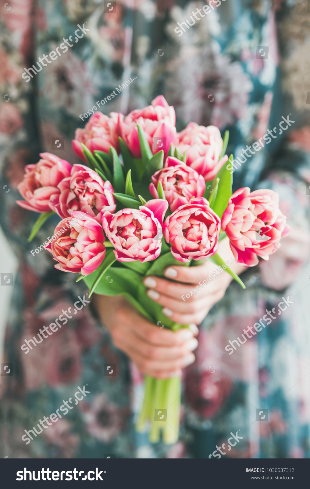 Spring flowers arrangement woman colorful silk stock photo 100 spring flowers arrangement woman in colorful silk dress holding bouquet of fresh pink tulips mightylinksfo