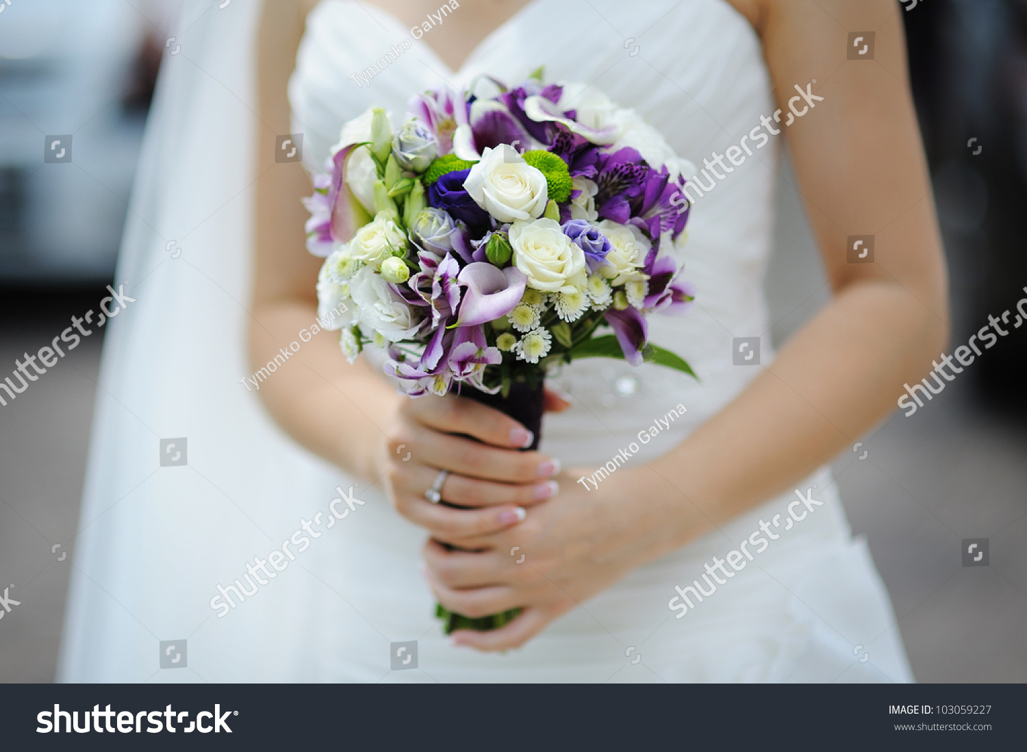 Wedding Bouquet Of Purple And White Flowers Ez Canvas