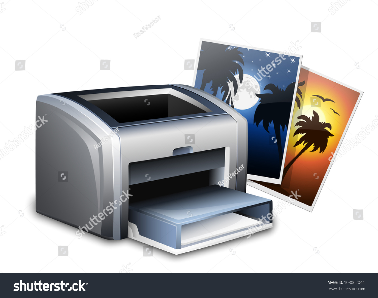 Color printers laser - Color Laser Printer And Photos Vector Illustration