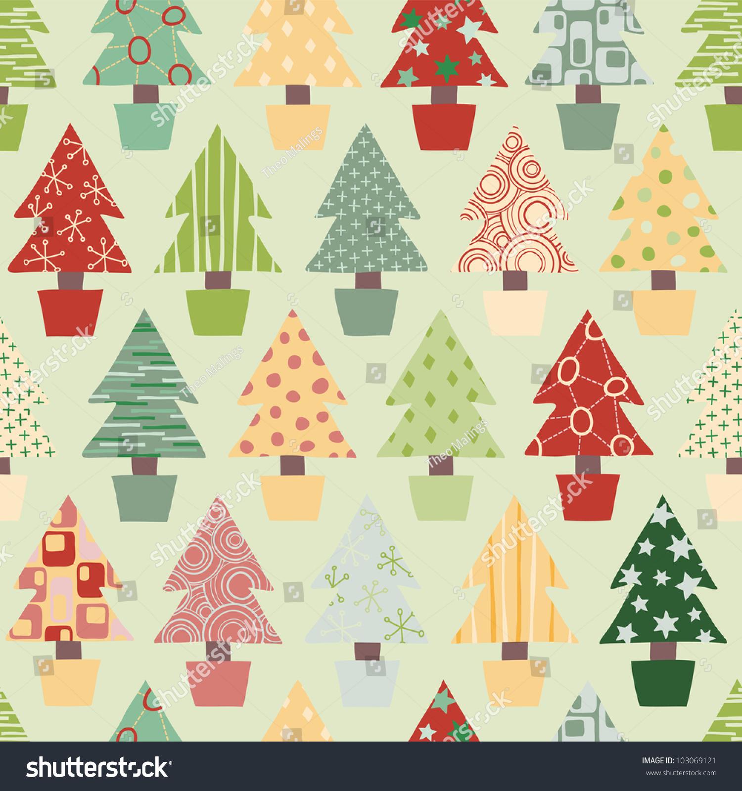 Seamless Christmas Tree Background Festive Color Stock Illustration ...