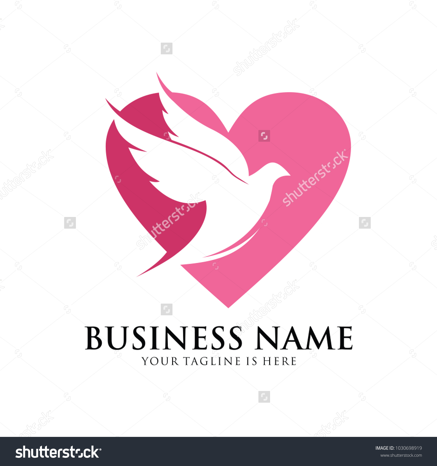 Flying Dove Pigeon Inside Heart Shape Vector Logo Design Symbol Of