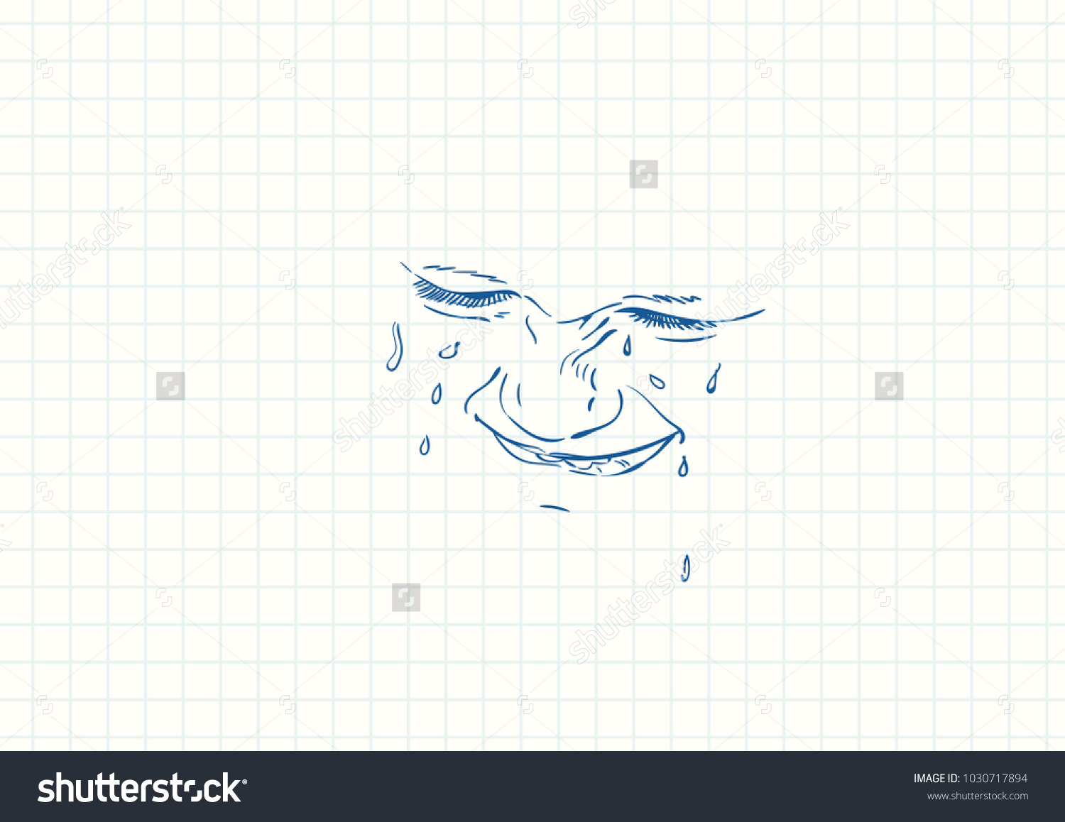 Line Drawing Of Child S Face : Blue pen sketch on square grid stock vector shutterstock