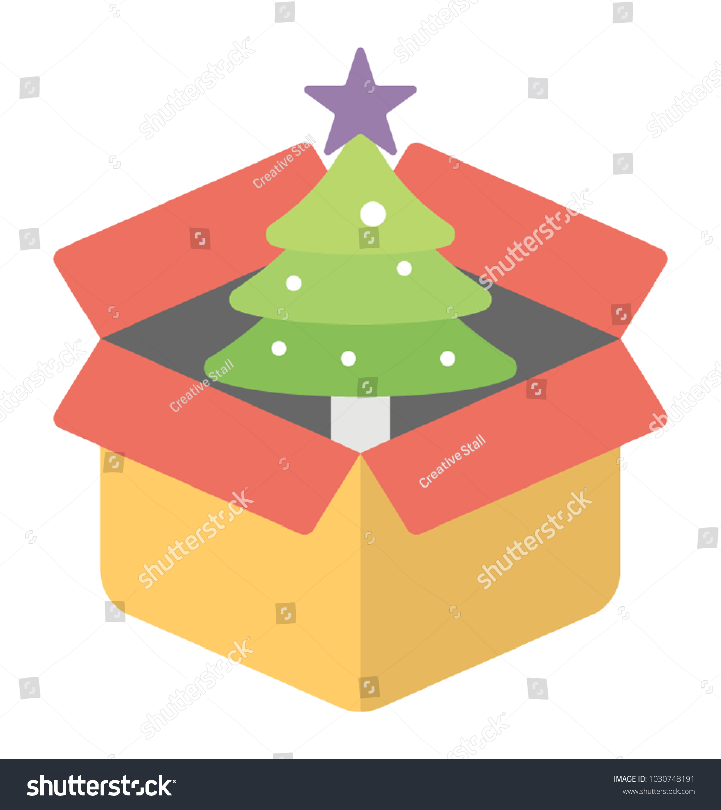 Decorated Spruce Tree Cardboard Box Christmas Stock Vector Royalty