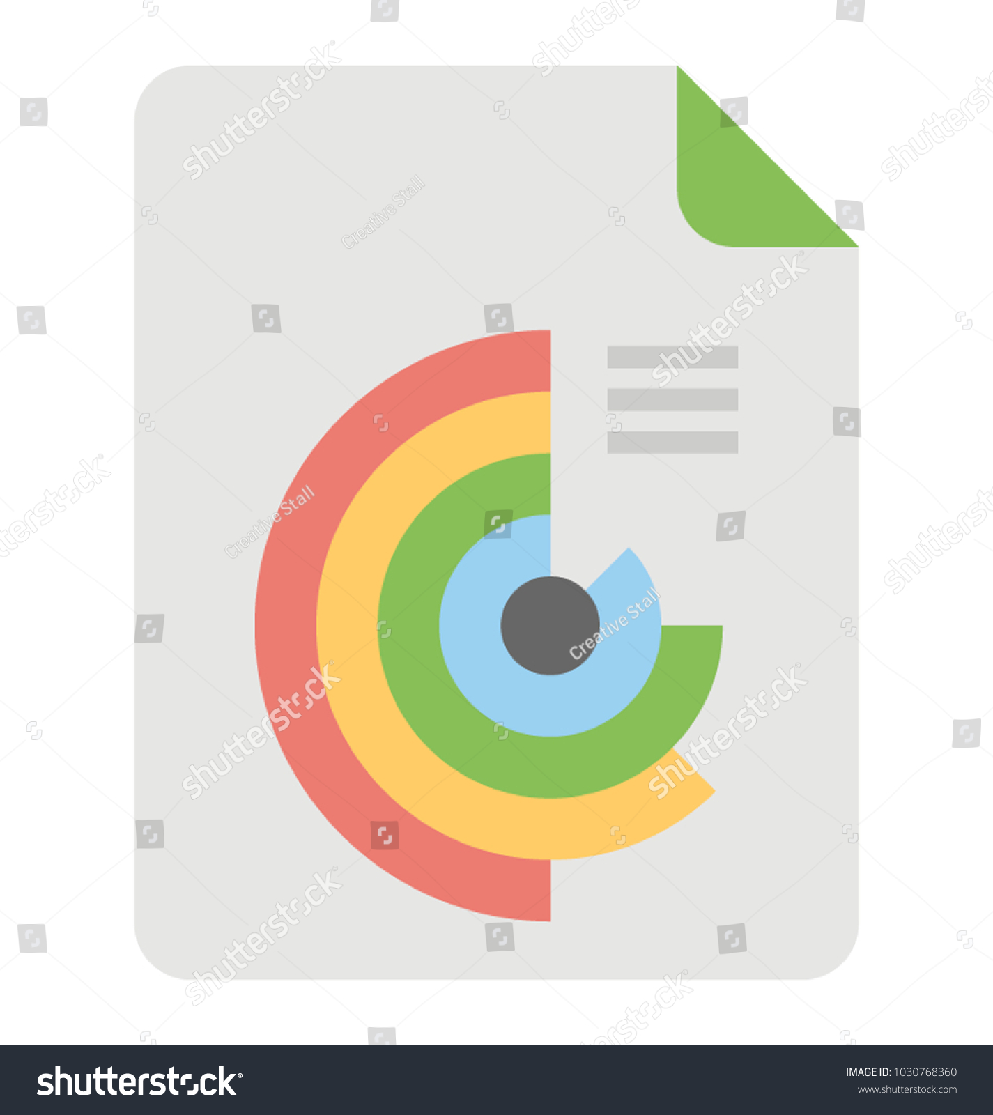 Half Pie Chart Business Infographics Flat Stock Vector Royalty Free