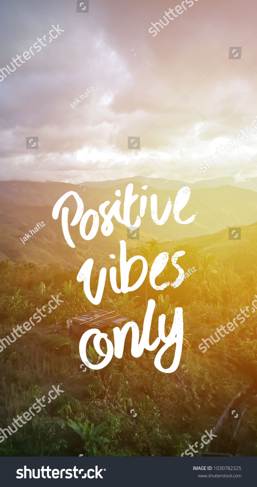 Positive Vibes Only Quotes Landscape Background Stock Photo Edit