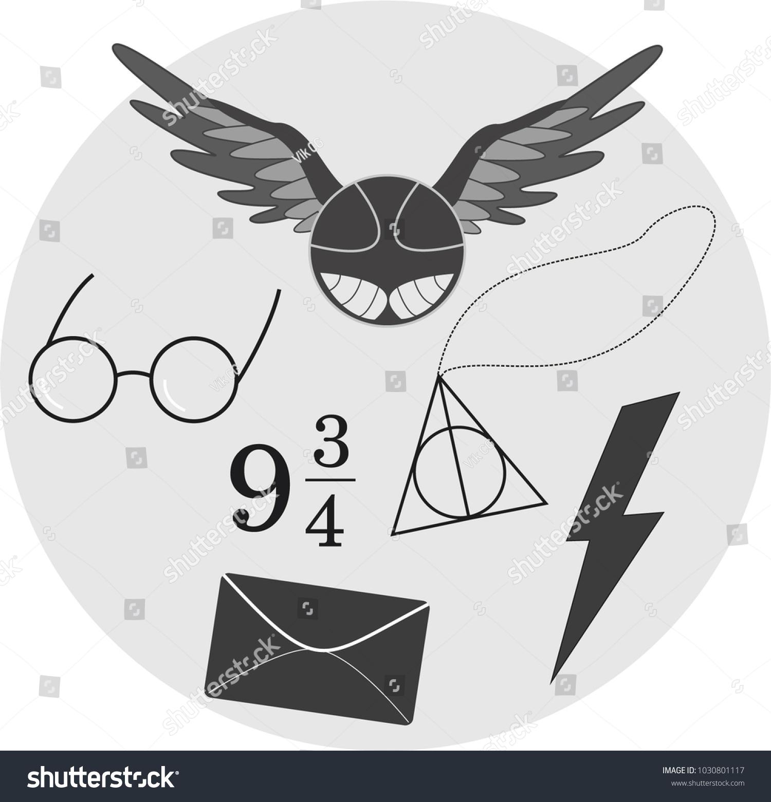 80eb86073358a Harry Potter Icons Hogwarts Magic Stock Vector (Royalty Free ...