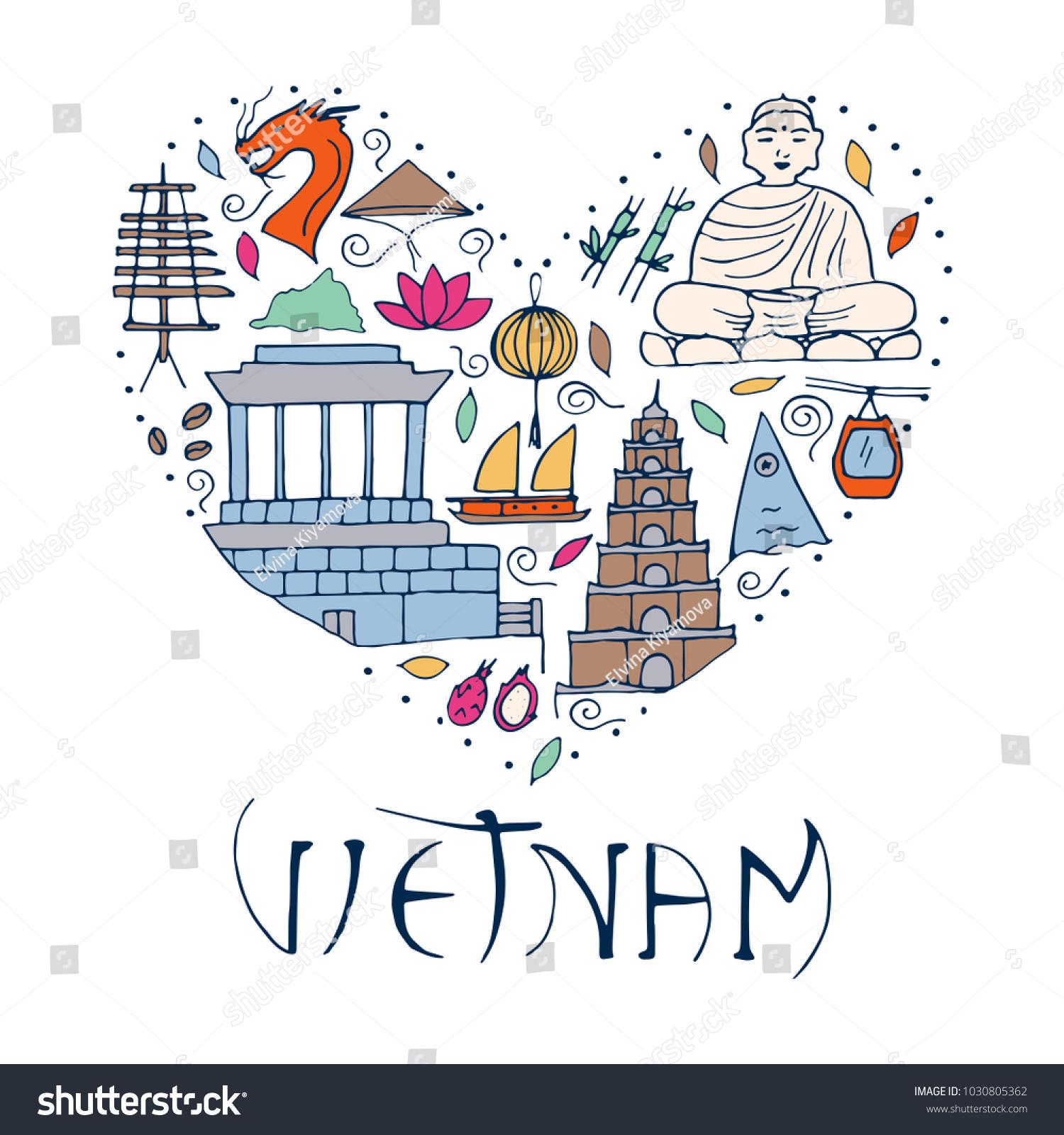 Culture Vietnam Illustration Symbols Asia Form Stock Vector 2018