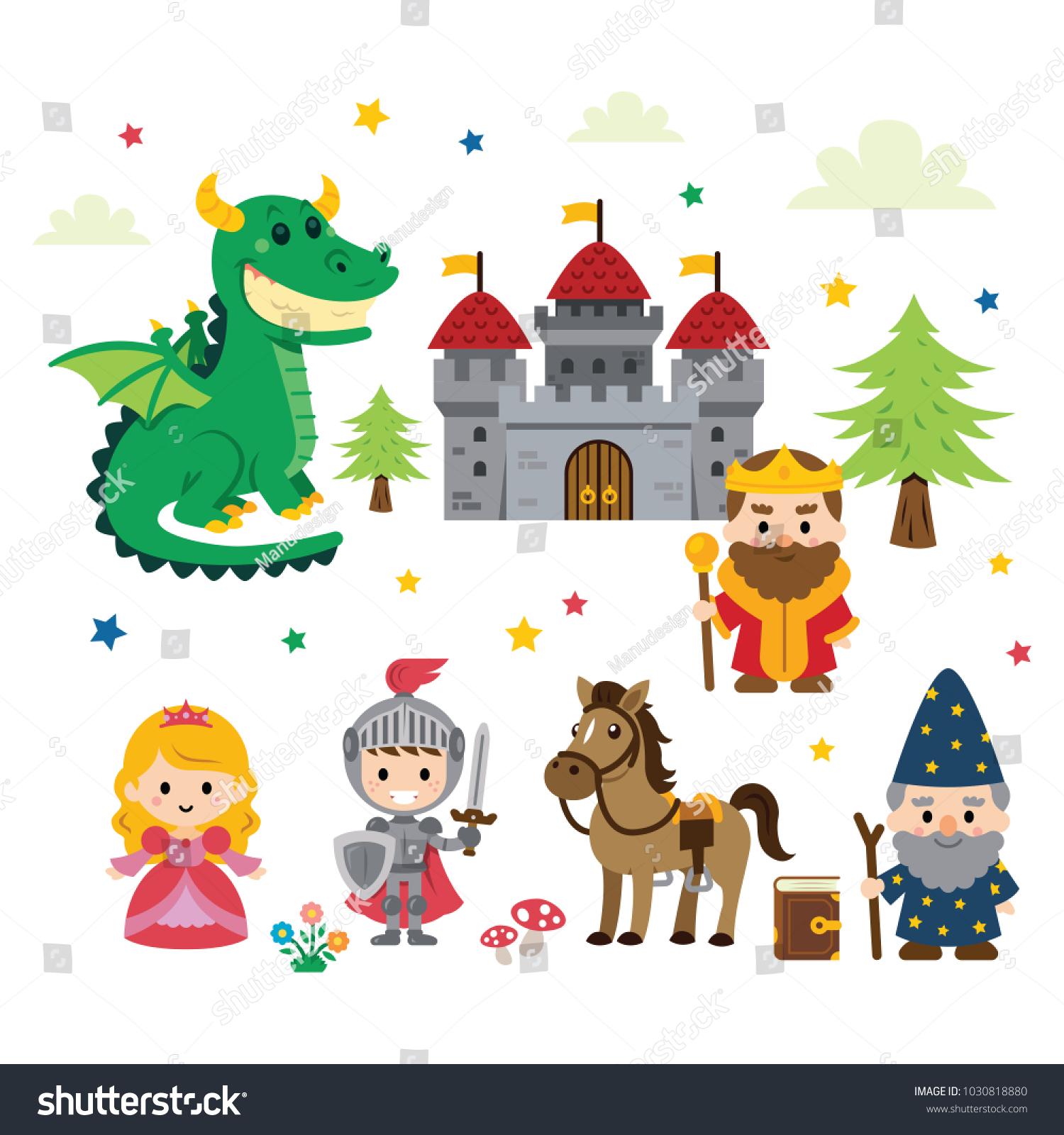 Fantasy Fairy Tale Clipart Different Characters Stock-Vektorgrafik ...