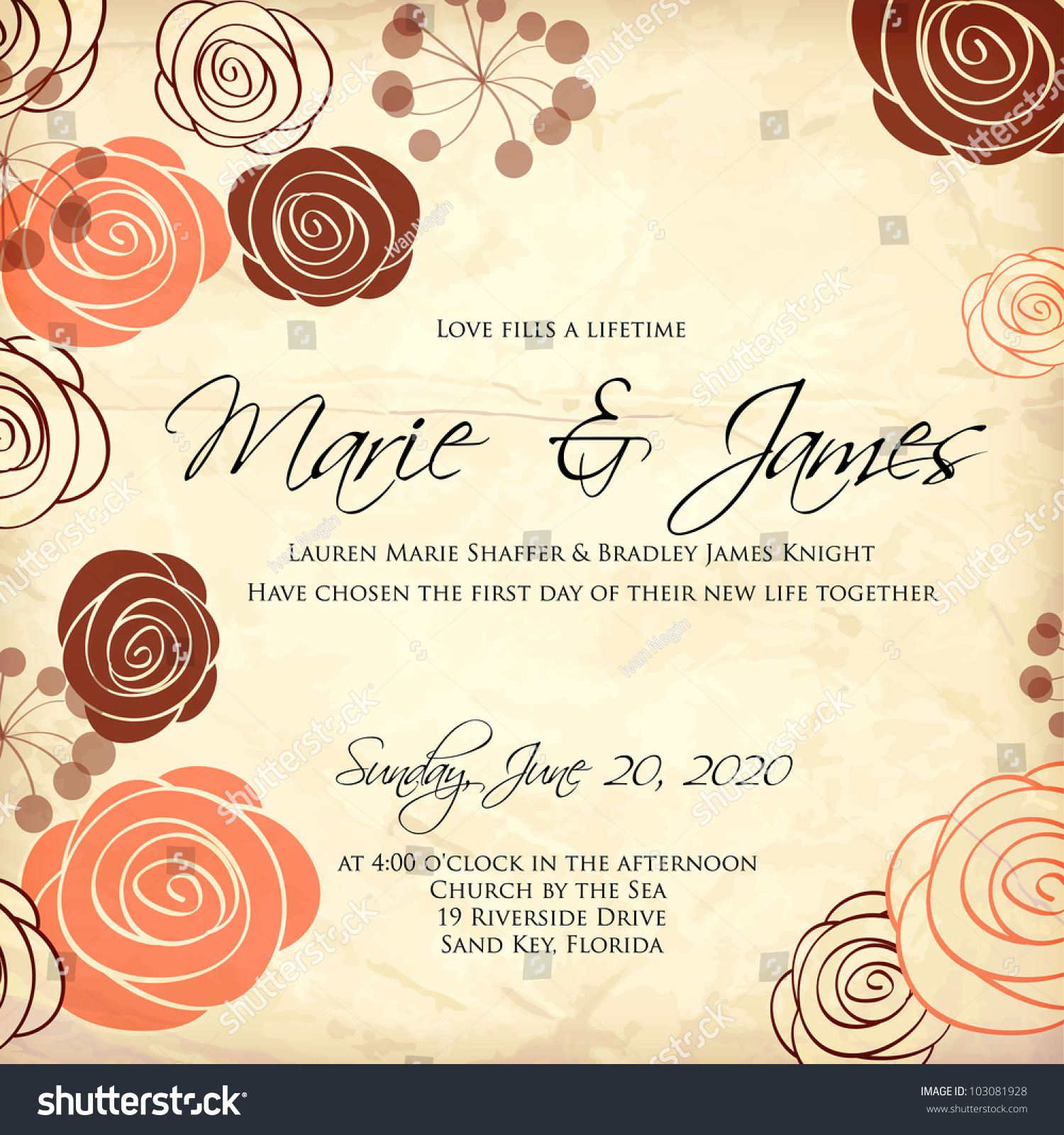 Wedding Card Invitation Abstract Floral Background Stock ...