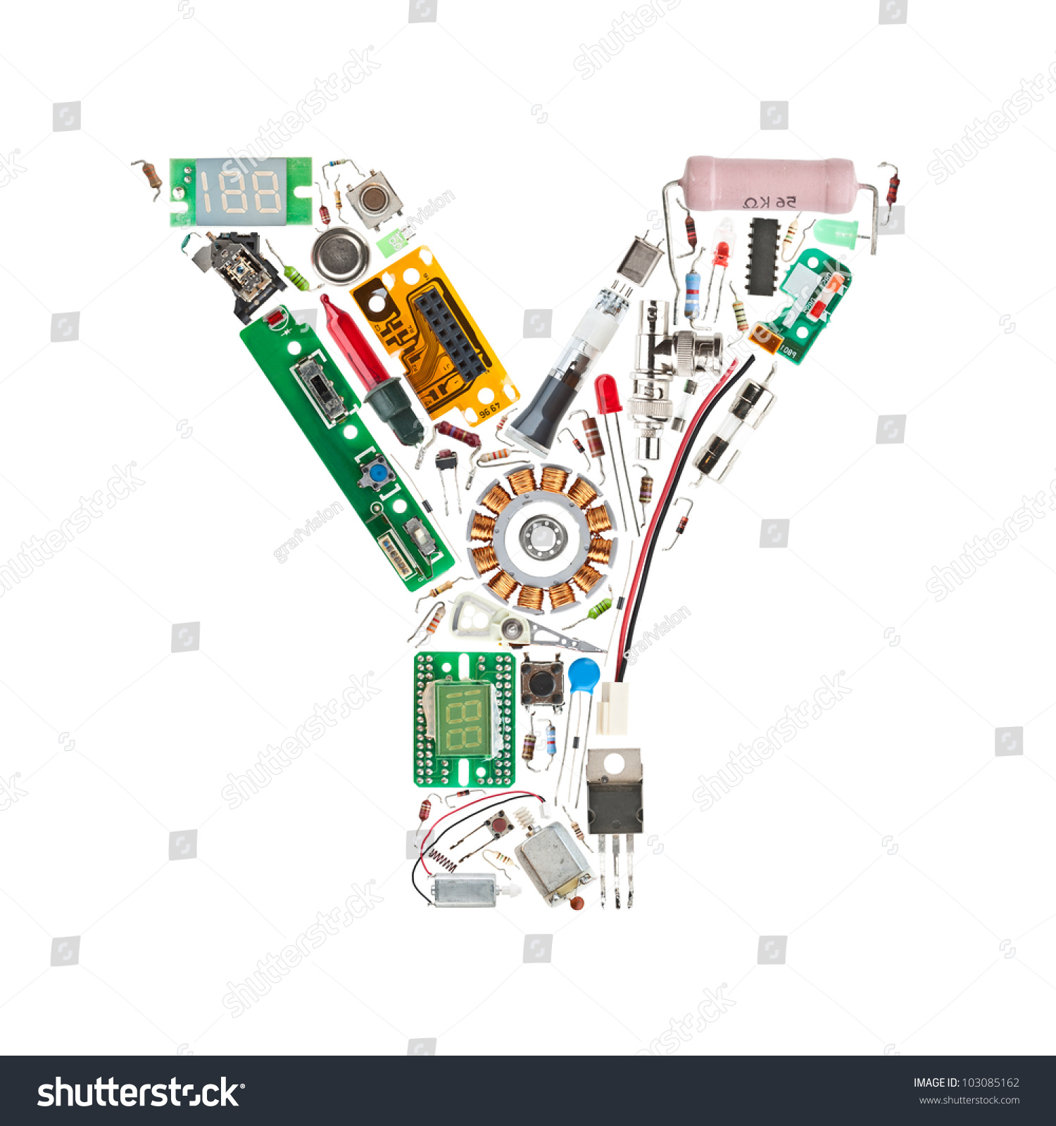 Components of a letter cypress college catalog by cypress college letter y made electronic components isolated stock photo safe to altavistaventures Image collections