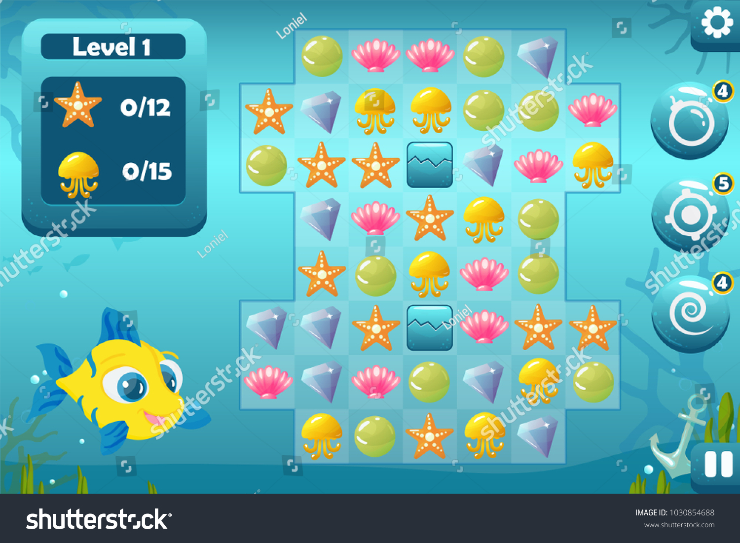 Vector Match Three Game Interface Background Stock Royalty Bomb With Bonuses Swirl Pointing