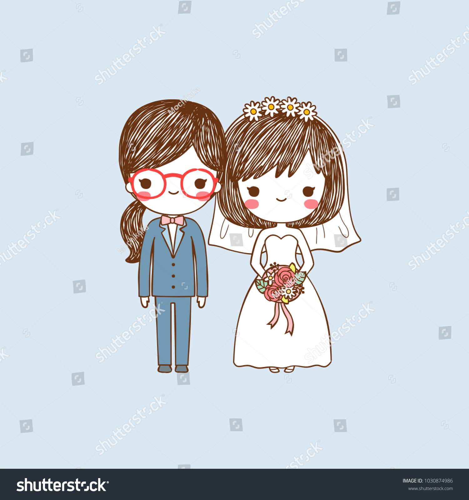wedding invitation card portrait cute cartoon stock vector