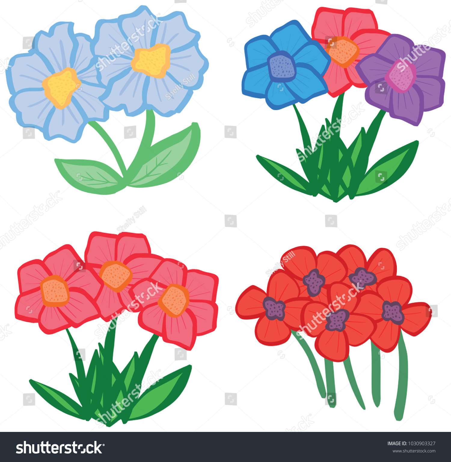 Collection Pretty Cartoon Spring Summer Flowers Stock Vector ...