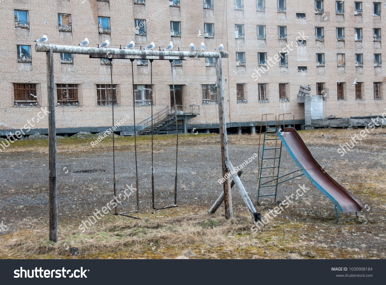 Old Children Playground Seagulls Nesting On Stock Photo Edit Now 1030908184