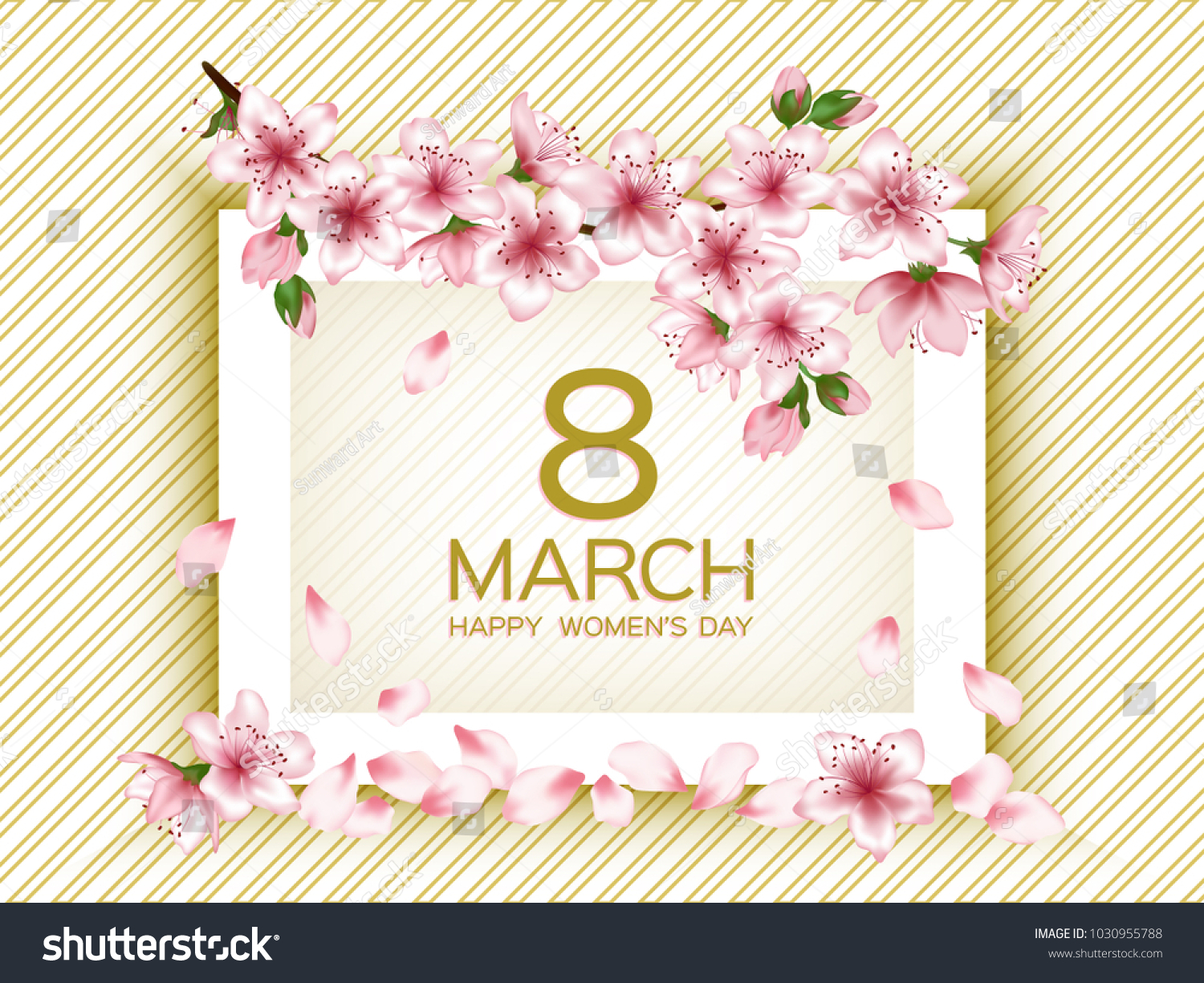 Gold pink 8 march happy womens stock vector 1030955788 shutterstock gold pink 8 march happy womens day vector card japanese cherry blossom pink sakura flowers kristyandbryce Images