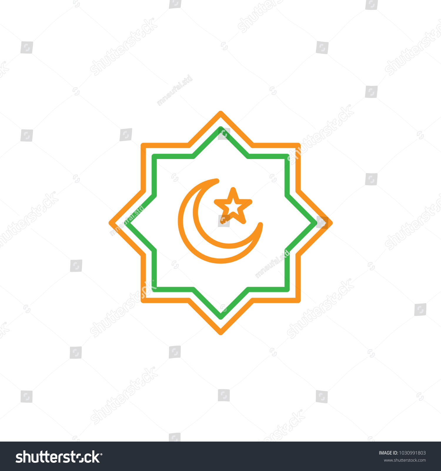Islamic culture symbol crescent moon star stock vector 1030991803 islamic culture symbol with crescent moon and star simple monoline icon style for muslim ramadan biocorpaavc Gallery