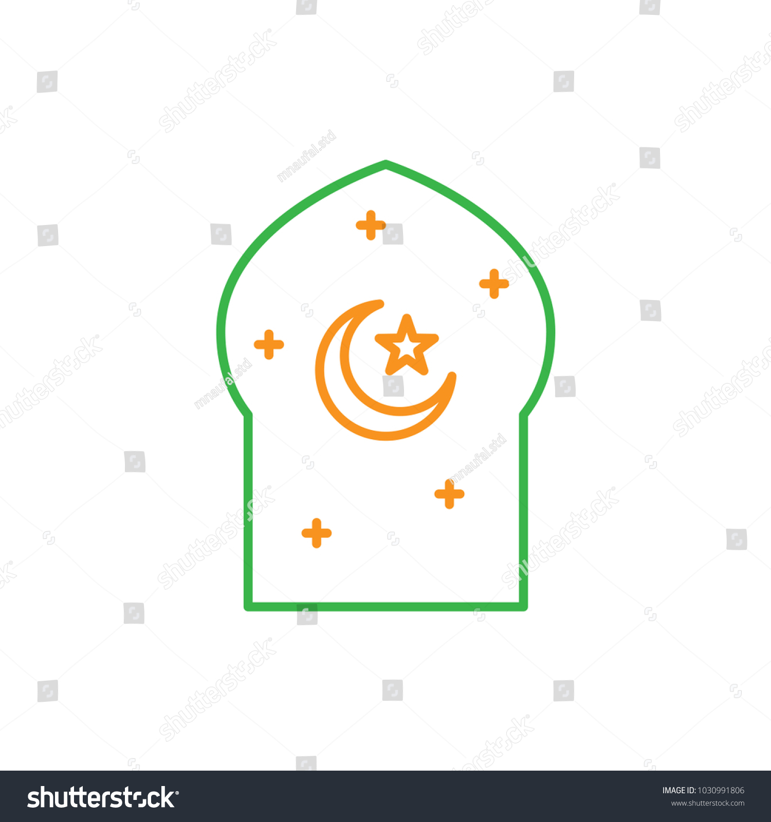 Moaque window crescent moon star islam stock vector 1030991806 moaque window crescent moon and star for islam symbol simple monoline icon style for biocorpaavc Gallery