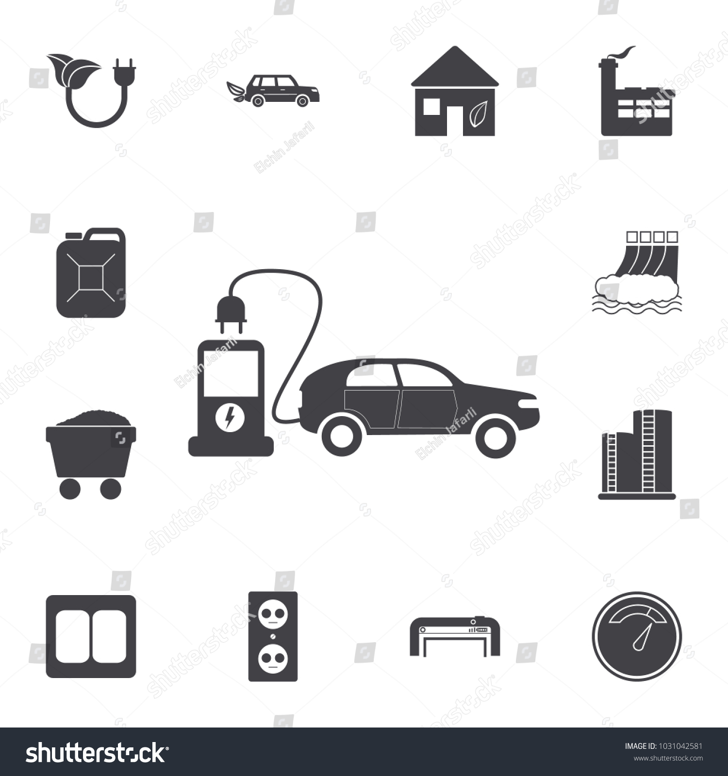 Electric car icon set energy icons stock vector 1031042581 set of energy icons signs and symbols collection icons for websites buycottarizona Choice Image