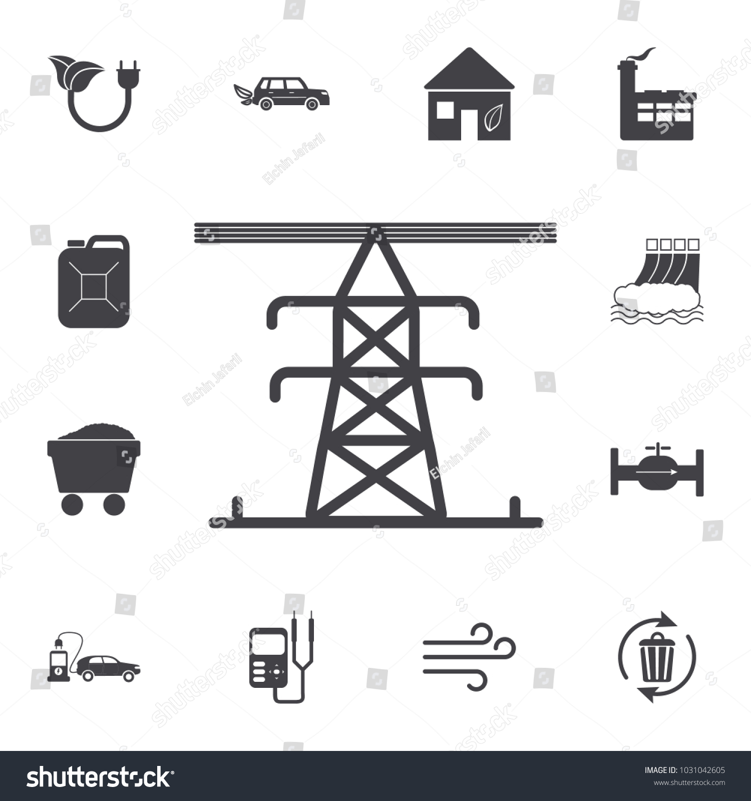 High Voltage Electric Line Pylon Icon Stock Photo (Photo, Vector ...
