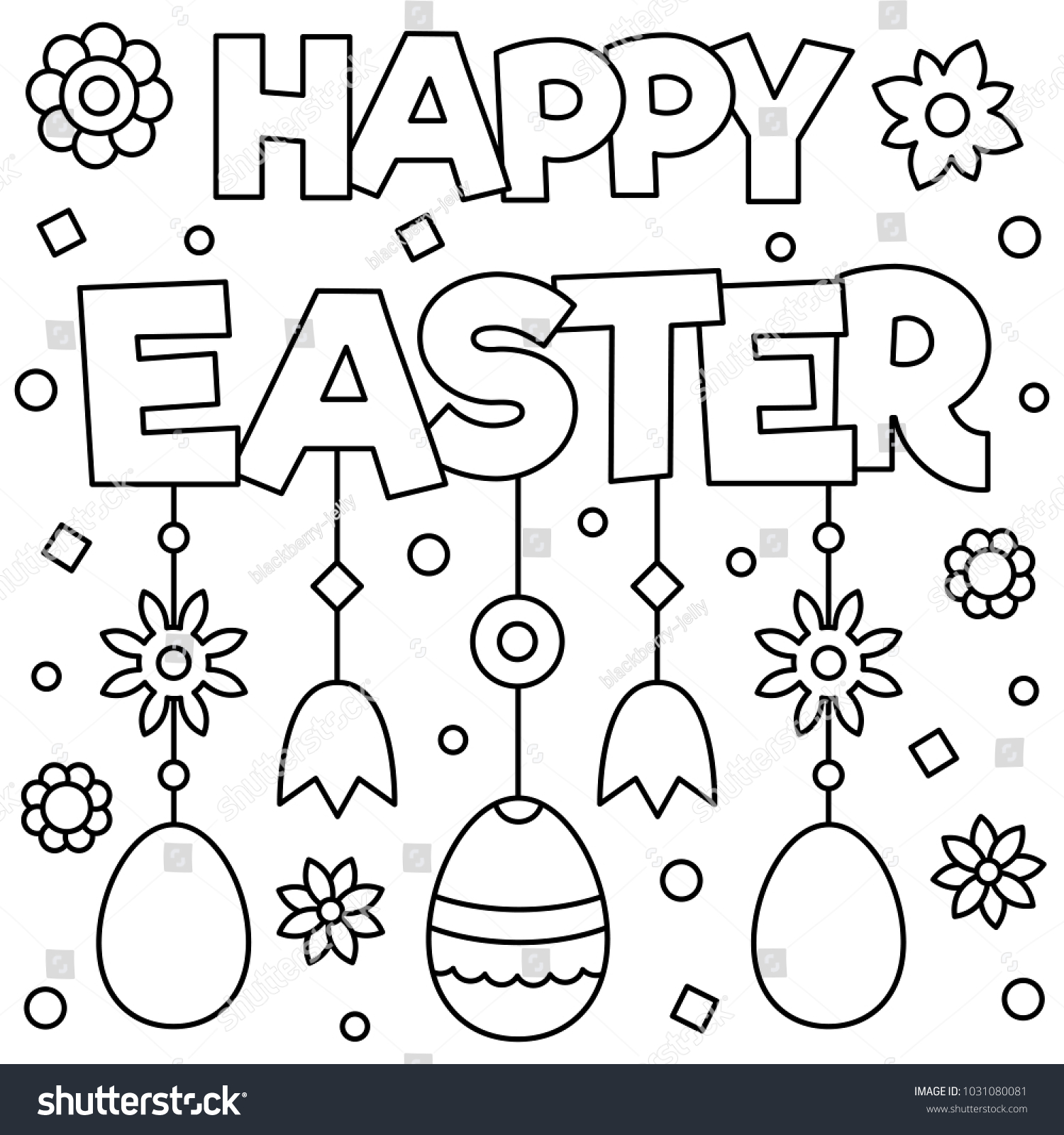 Happy Easter Coloring Page Vector Illustration Stock Vector (Royalty ...