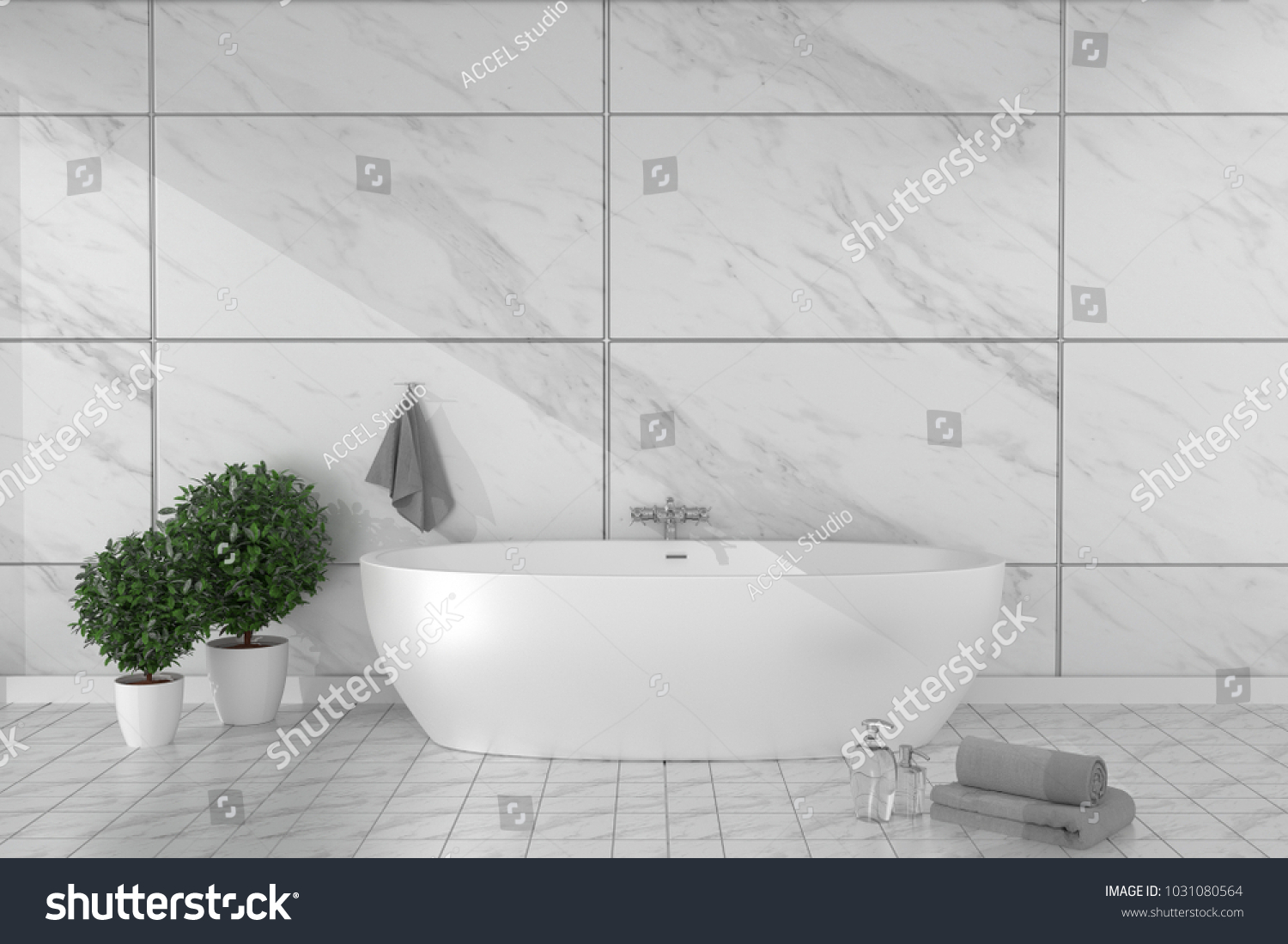 Bathroom Interior Bathtub Ceramic Tile Floor Stock Illustration ...