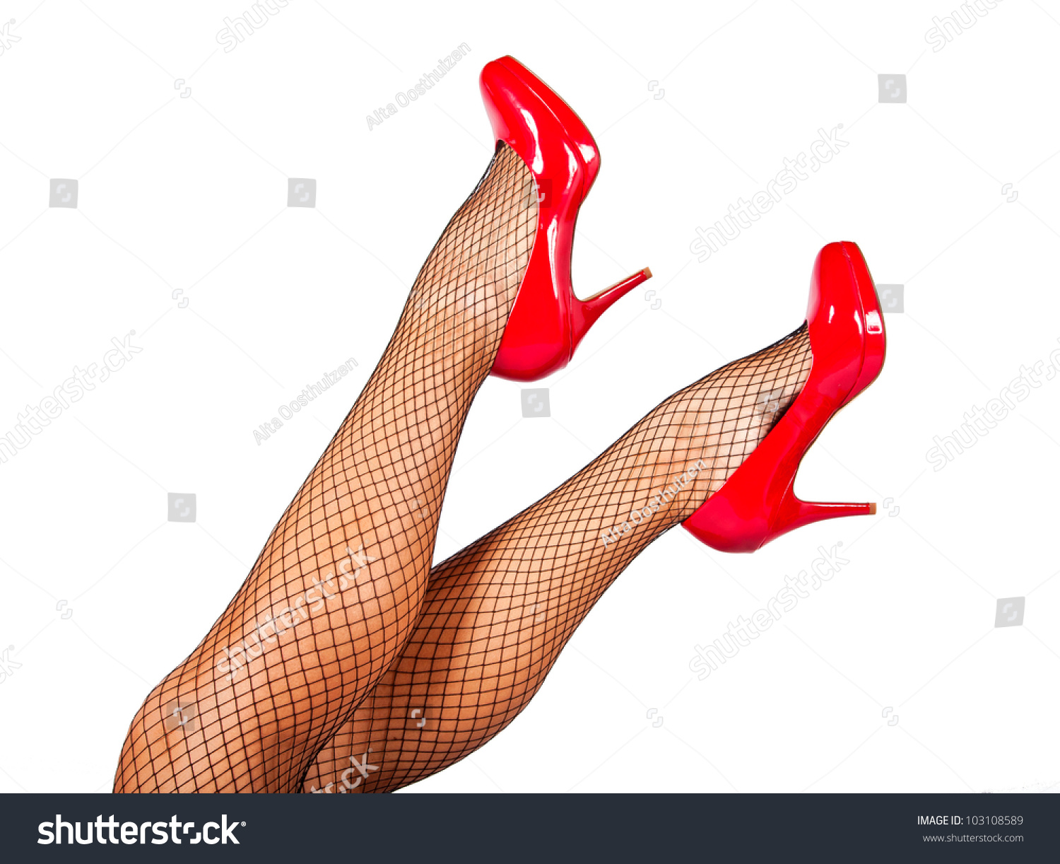 Red Shoes And Black Stockings Looking Sexy Stock Photo 103108589 ...