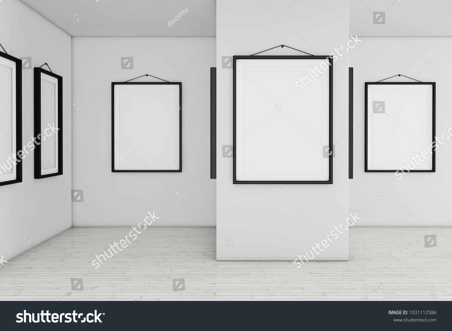 Art Gallery Museum with White Blank Placard Mockup Frames extreme ...