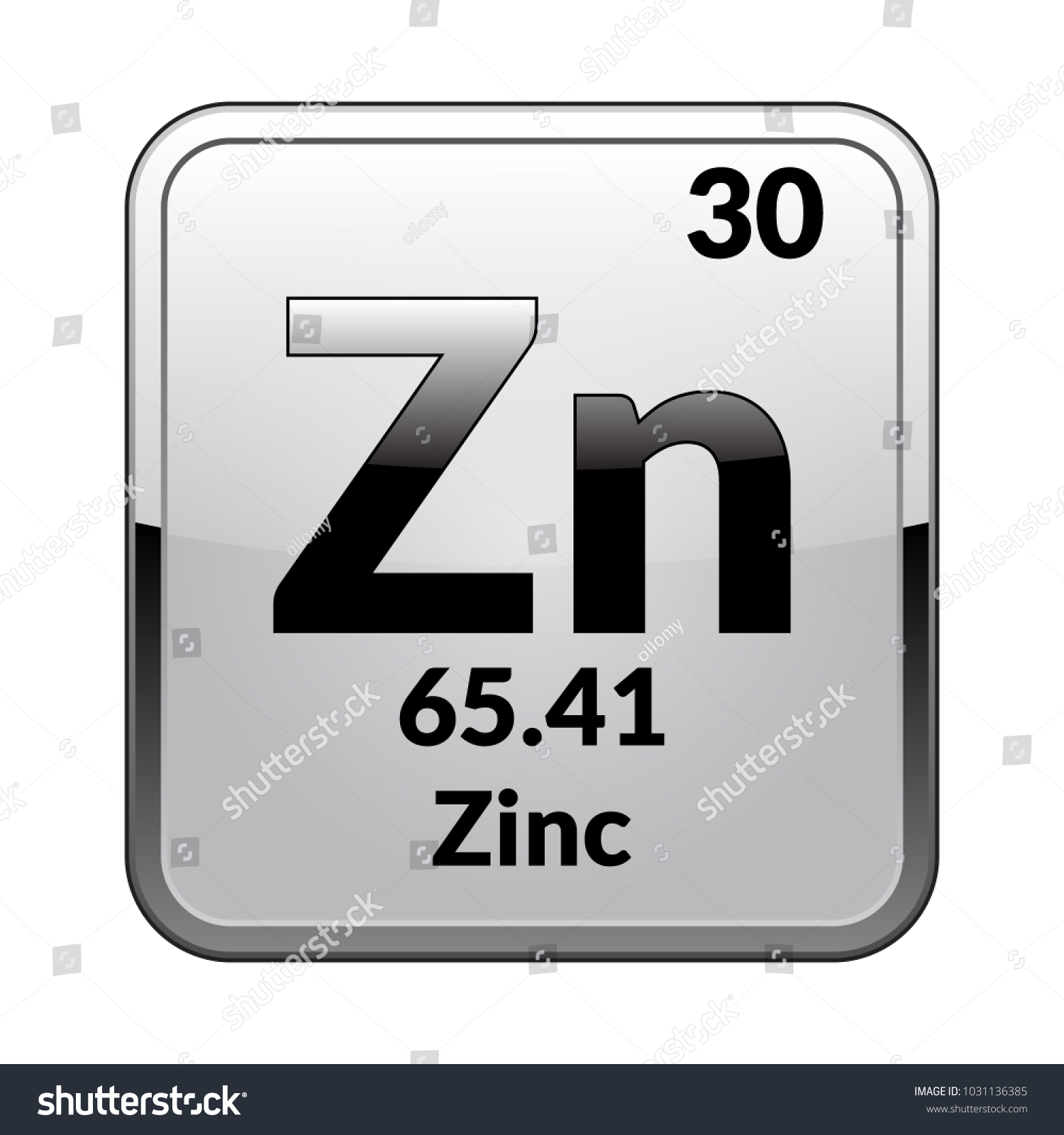 Zinc Symbol Chemical Element Periodic Table On Stock Vector Royalty