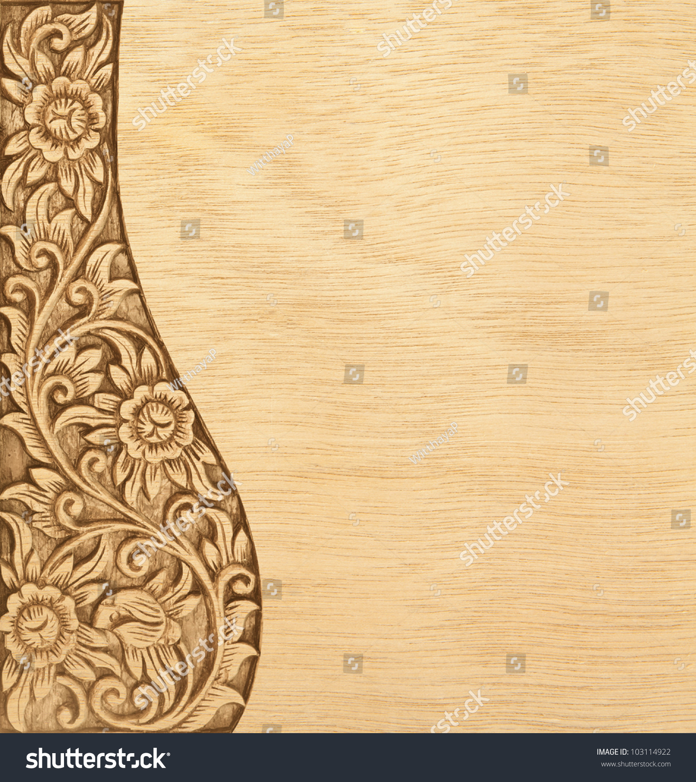 Pattern Wood Frame Carve Flower On Stock Photo 103114922